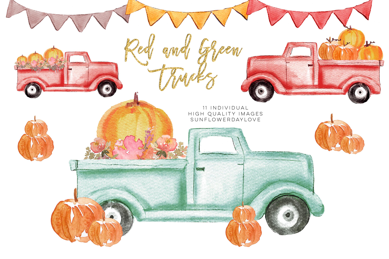 Pumpkin truck clipart, Watercolor Red Truck Pumpkins example image 1