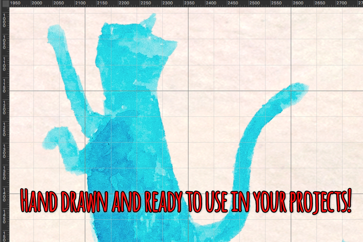 11 Blue Cat Silhouette Watercolor Graphics example image 3