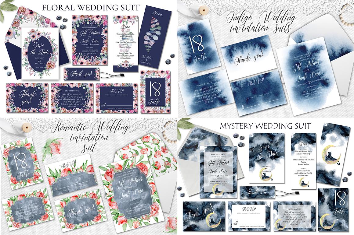 Watercolor Wedding Invitations Suits. GIANT BUNDLE example image 11
