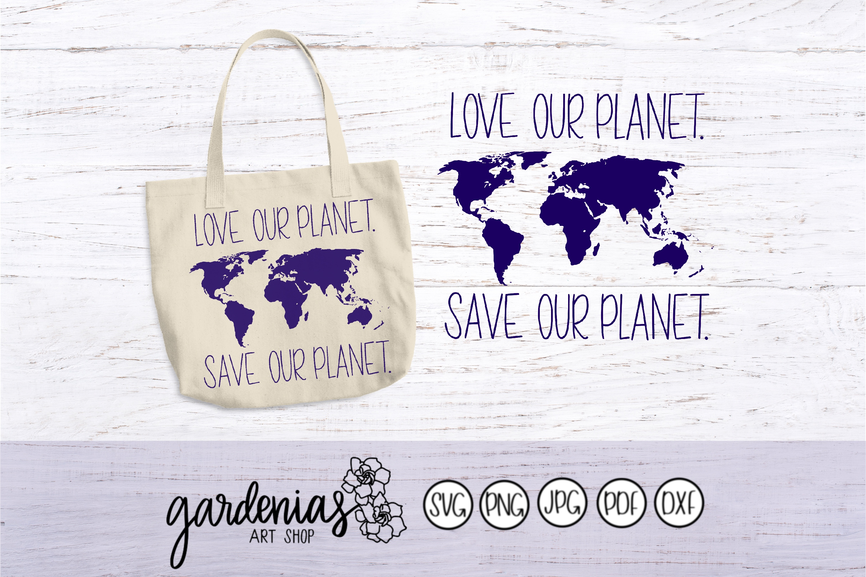 Love Our Planet Save Our Planet SVG Cut File | World Map example image 1