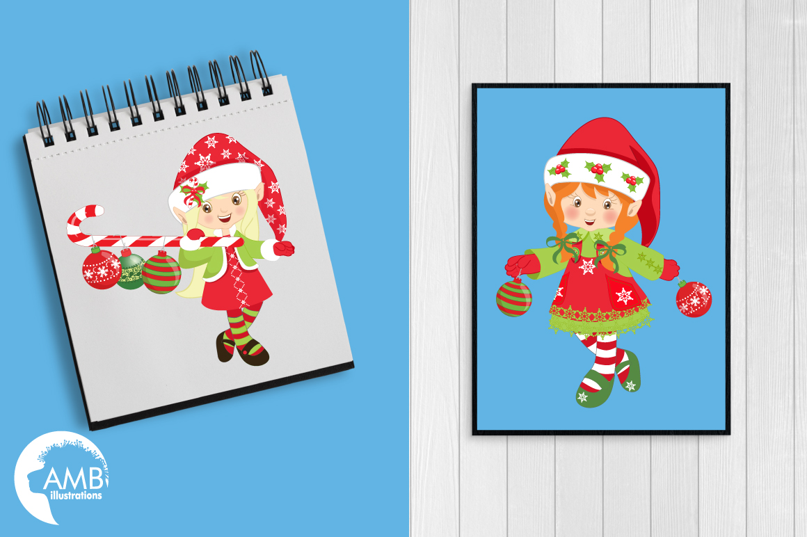 Christmas elves clipart, graphics, illustrations AMB-195 example image 2