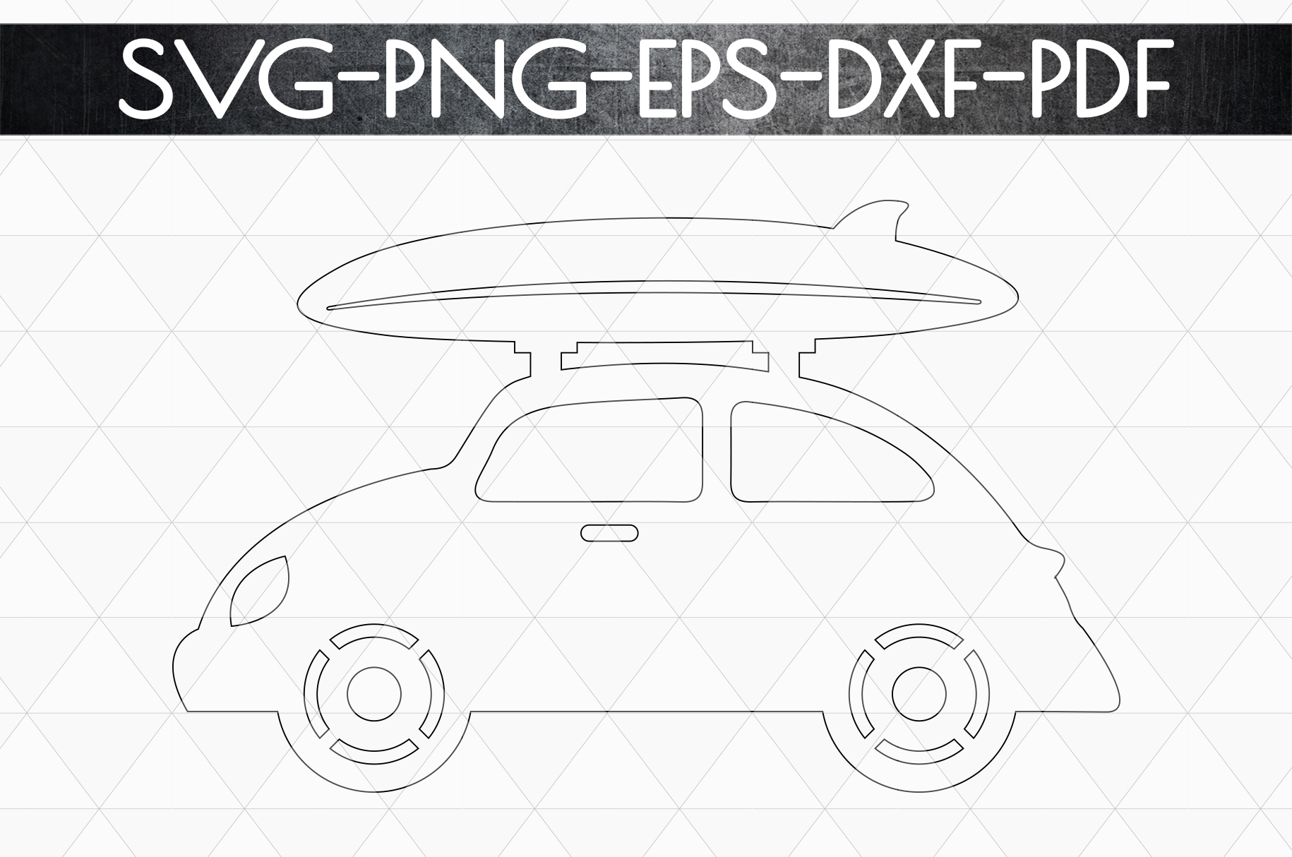 Summer Surf Papercut Template, Car With Surf Board SVG, DXF example image 5