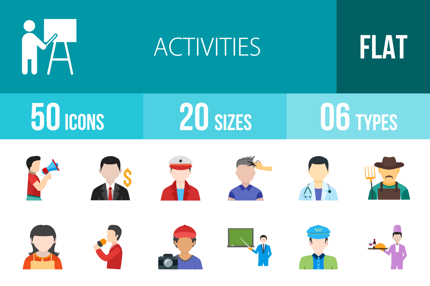 50 Activities Flat Multicolor Icons example image 1