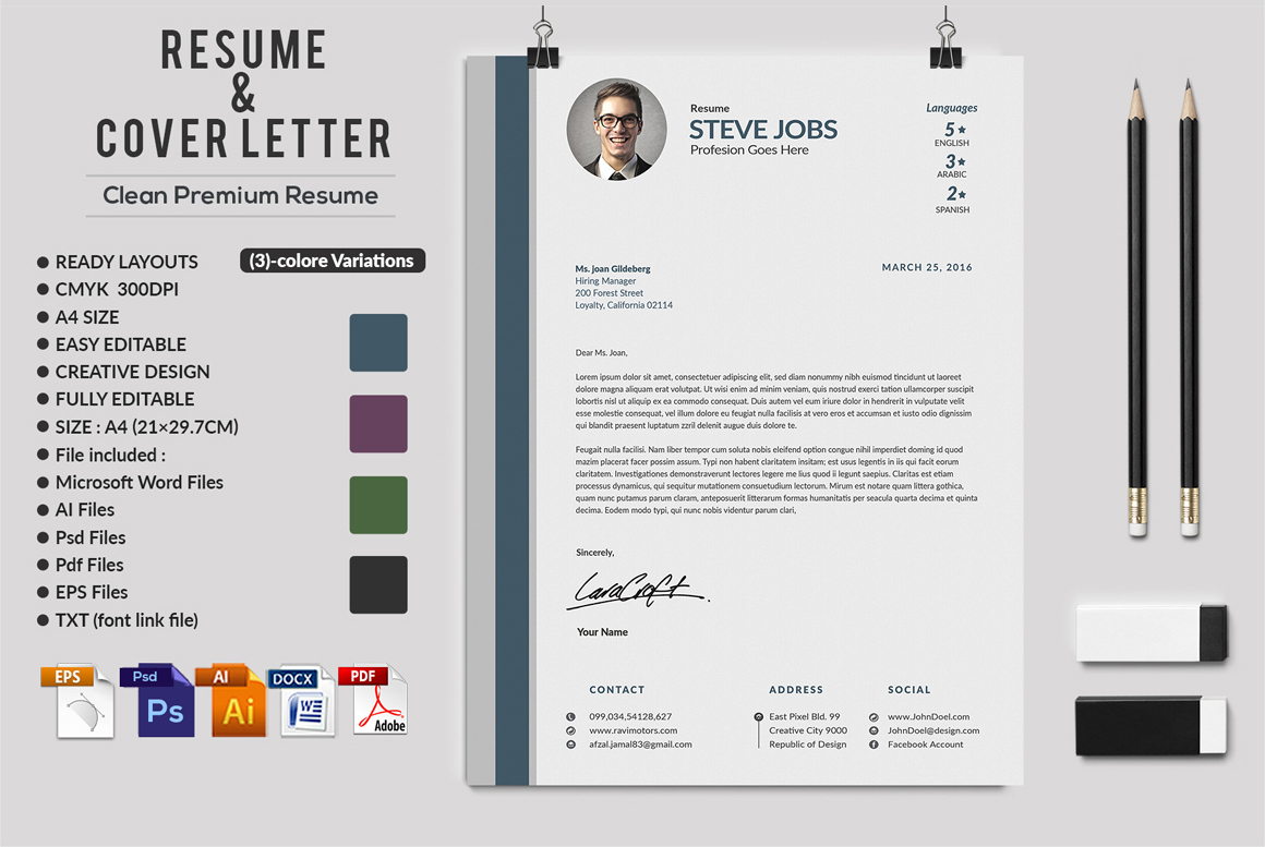 12 Clean Rsume Invoice and Letterhead Bundle example image 15
