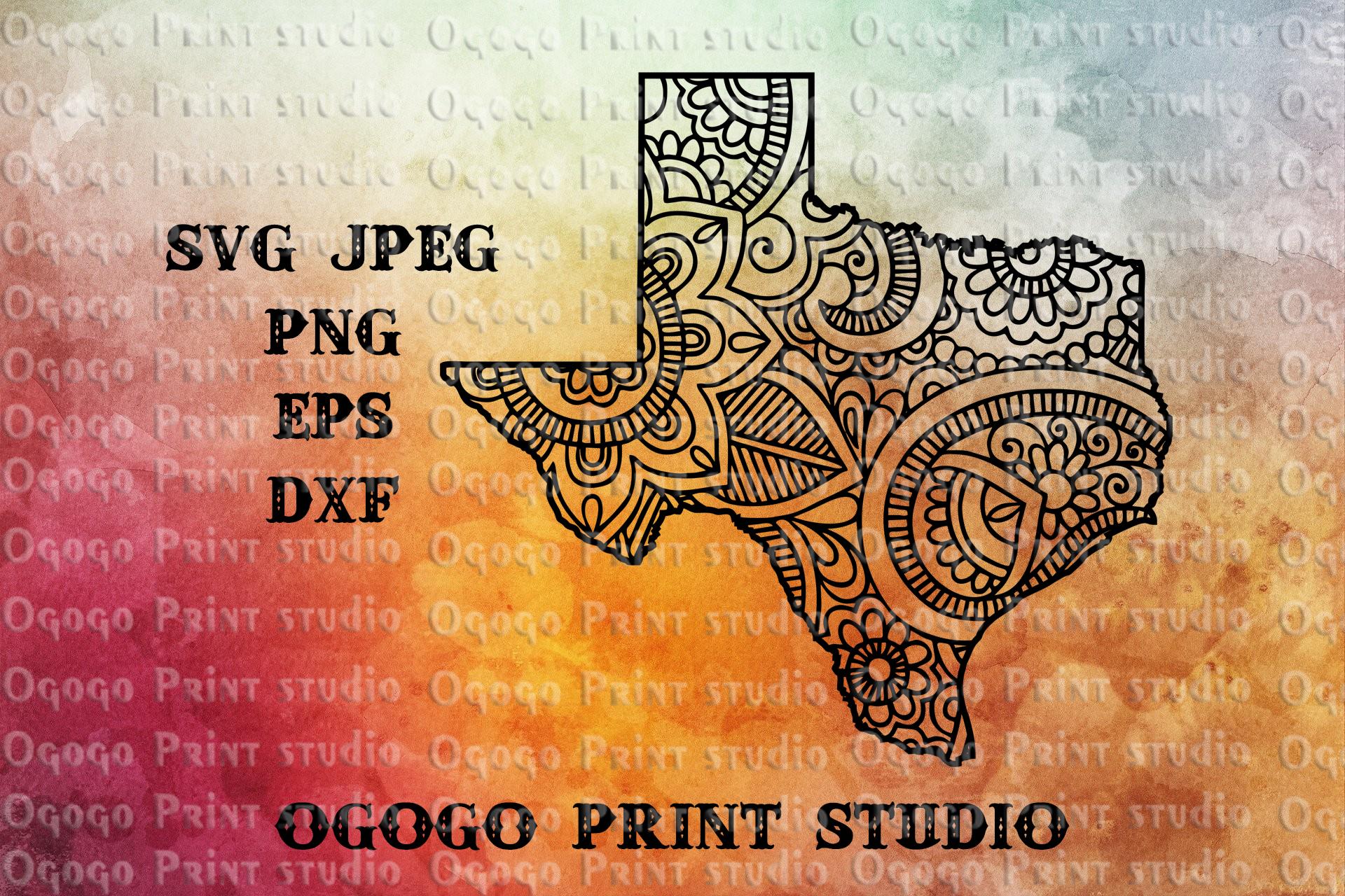 Texas svg, Map SVG, Zentangle SVG, Doodle Art, Mandala svg example image 1