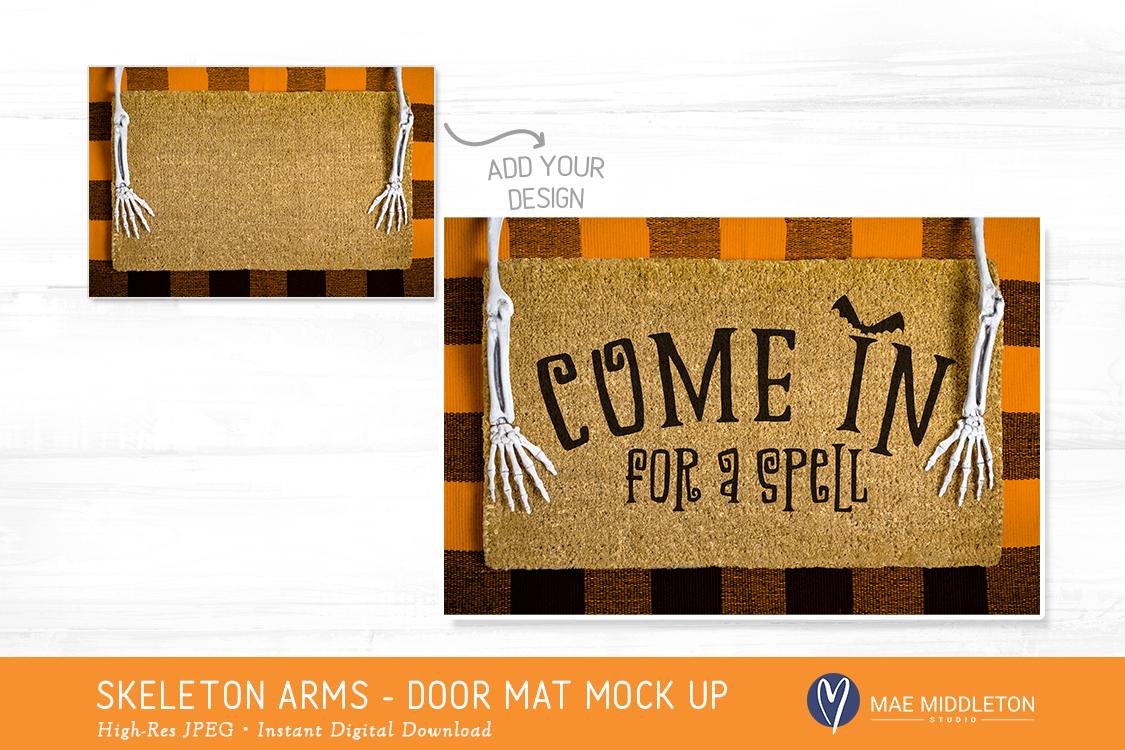 Halloween Door Mat mock up, styled photo example image 2