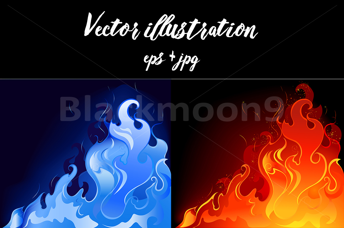 Red and blue flames example image 1