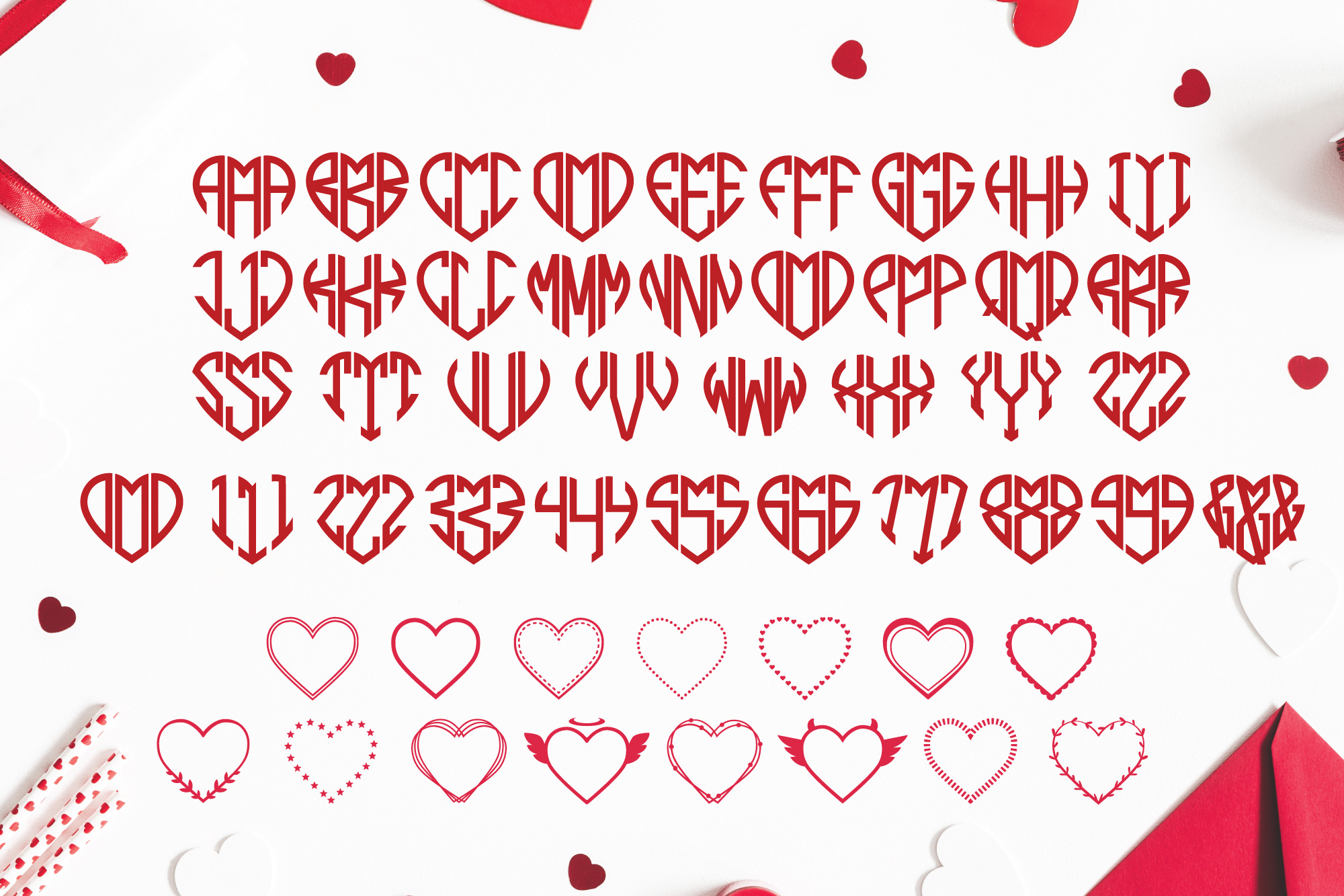 Heart Shaped Monogram with 15 Frames Bonus example image 2