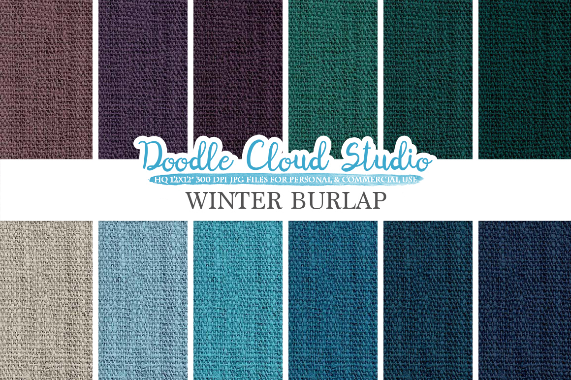 Winter Burlap Fabric digital paper pack, cool colors Backgrounds, Burlap linen jute texture, Instant Download for Personal & Commercial Use example image 1