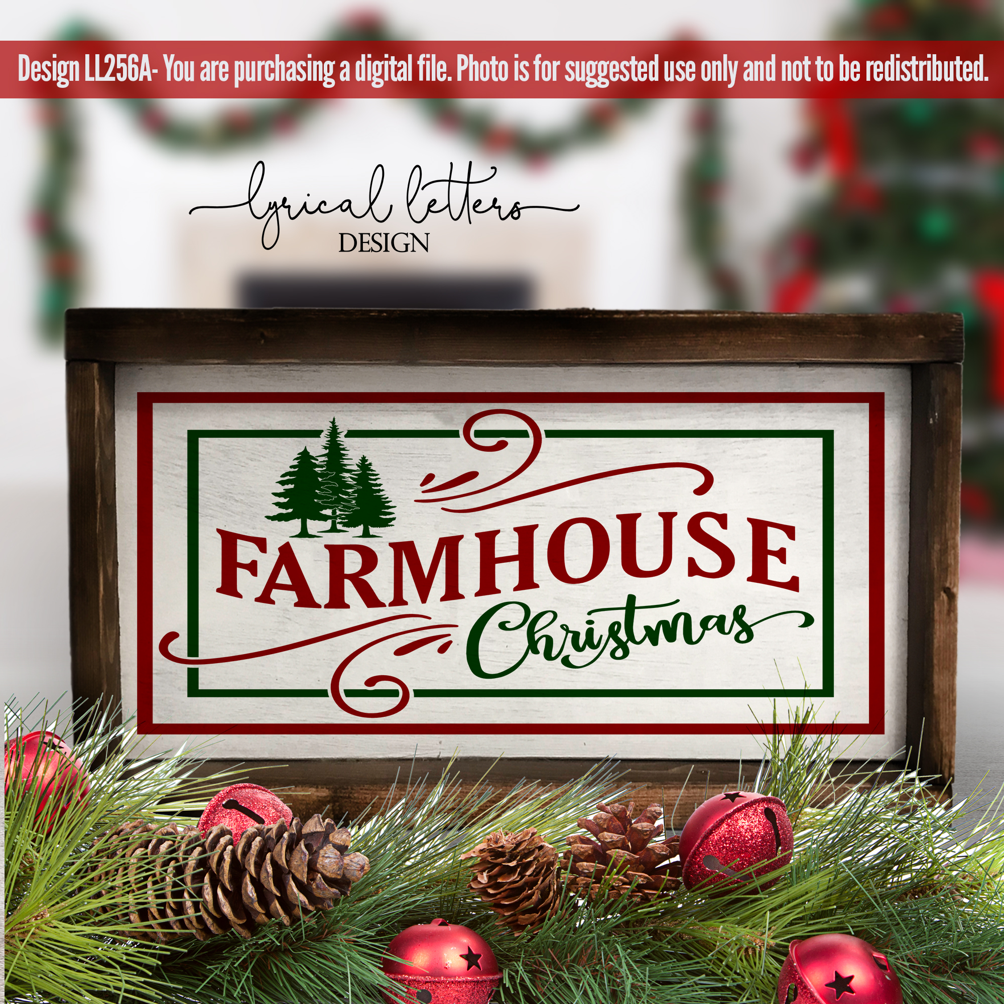 Farmhouse Christmas SVG DXF LL256A example image 2