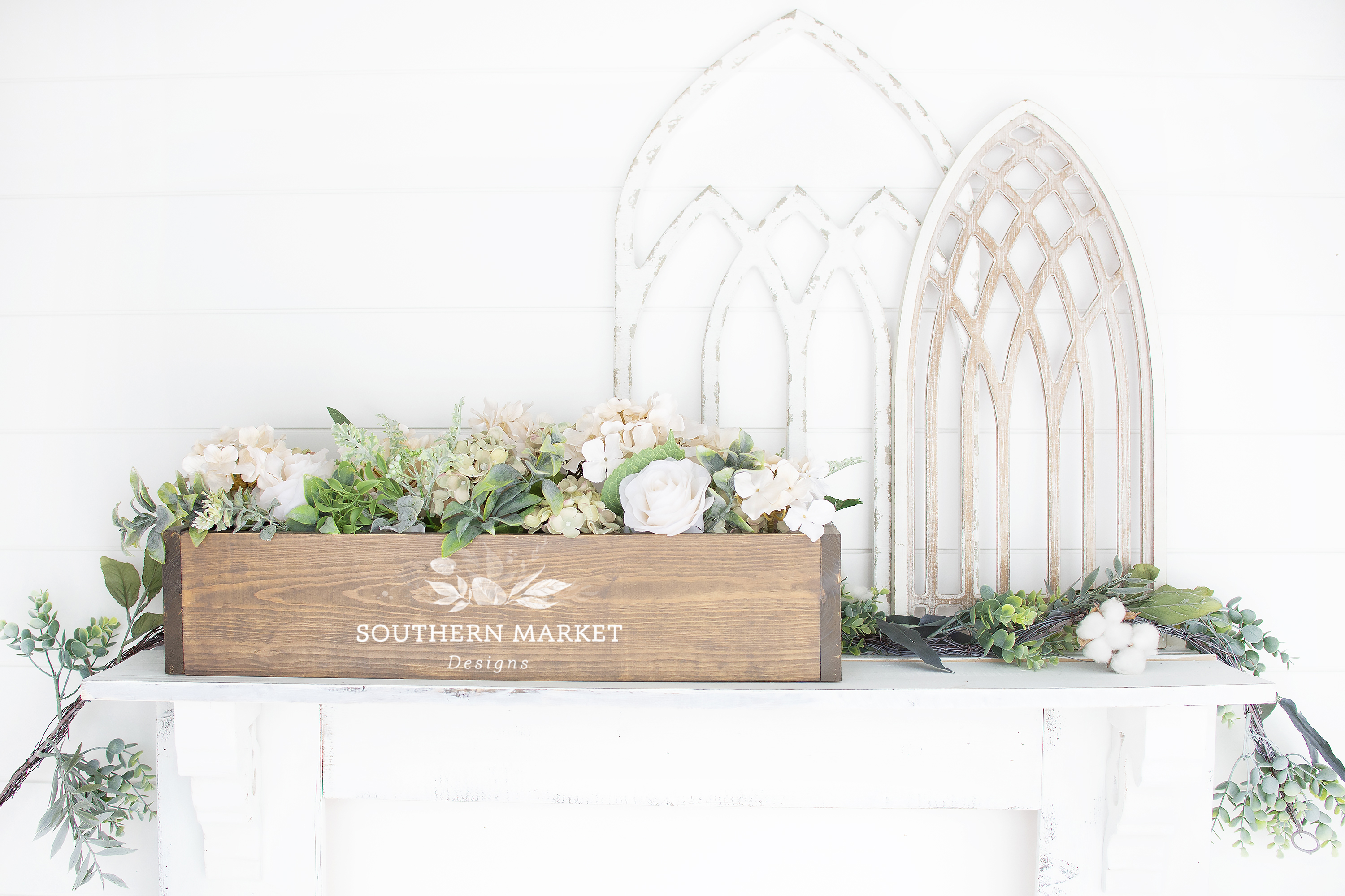 Wood Floral Box Mock Up Farmhouse Styled Photo example image 1