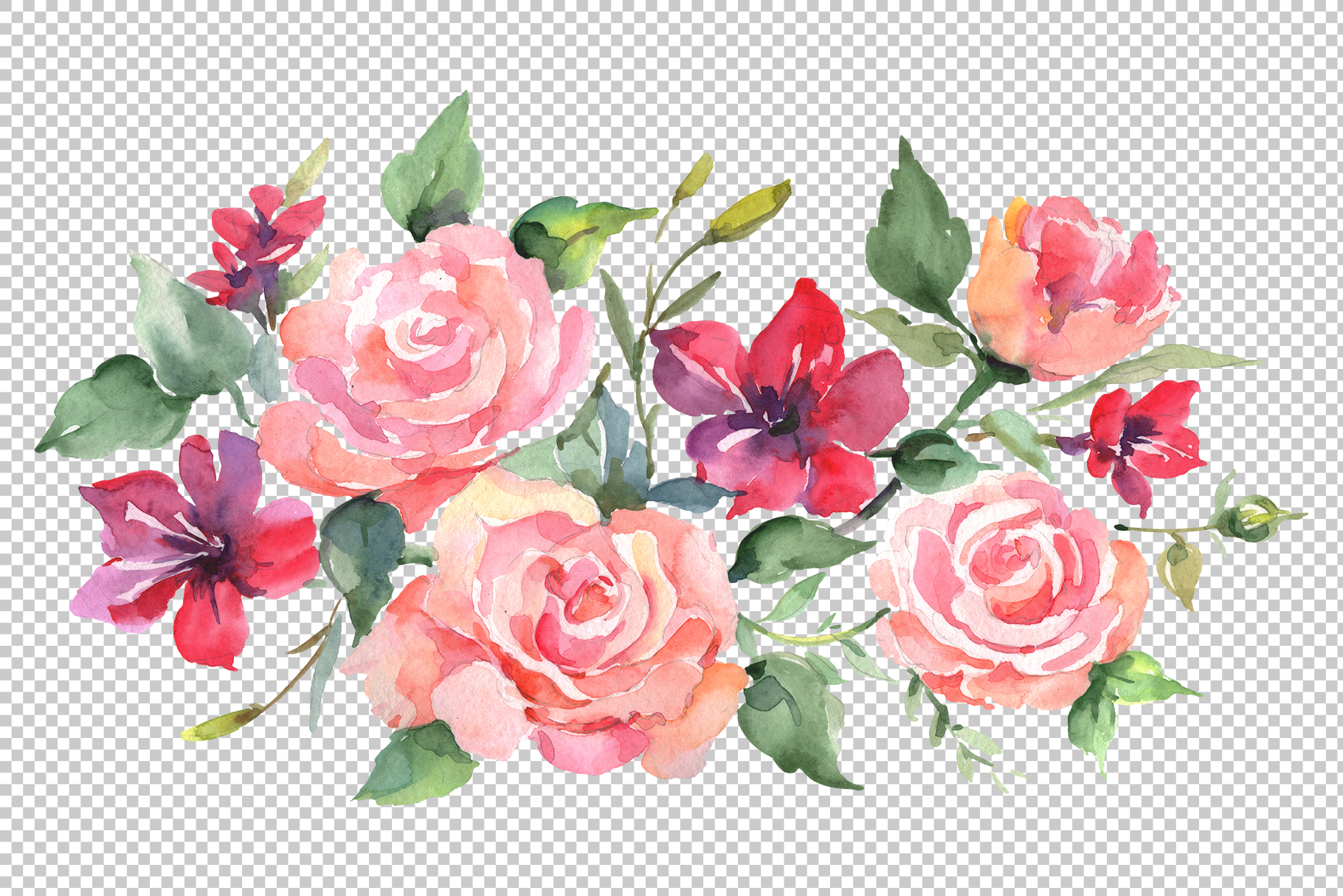 Roses bouquet joy of love watercolor png example image 2