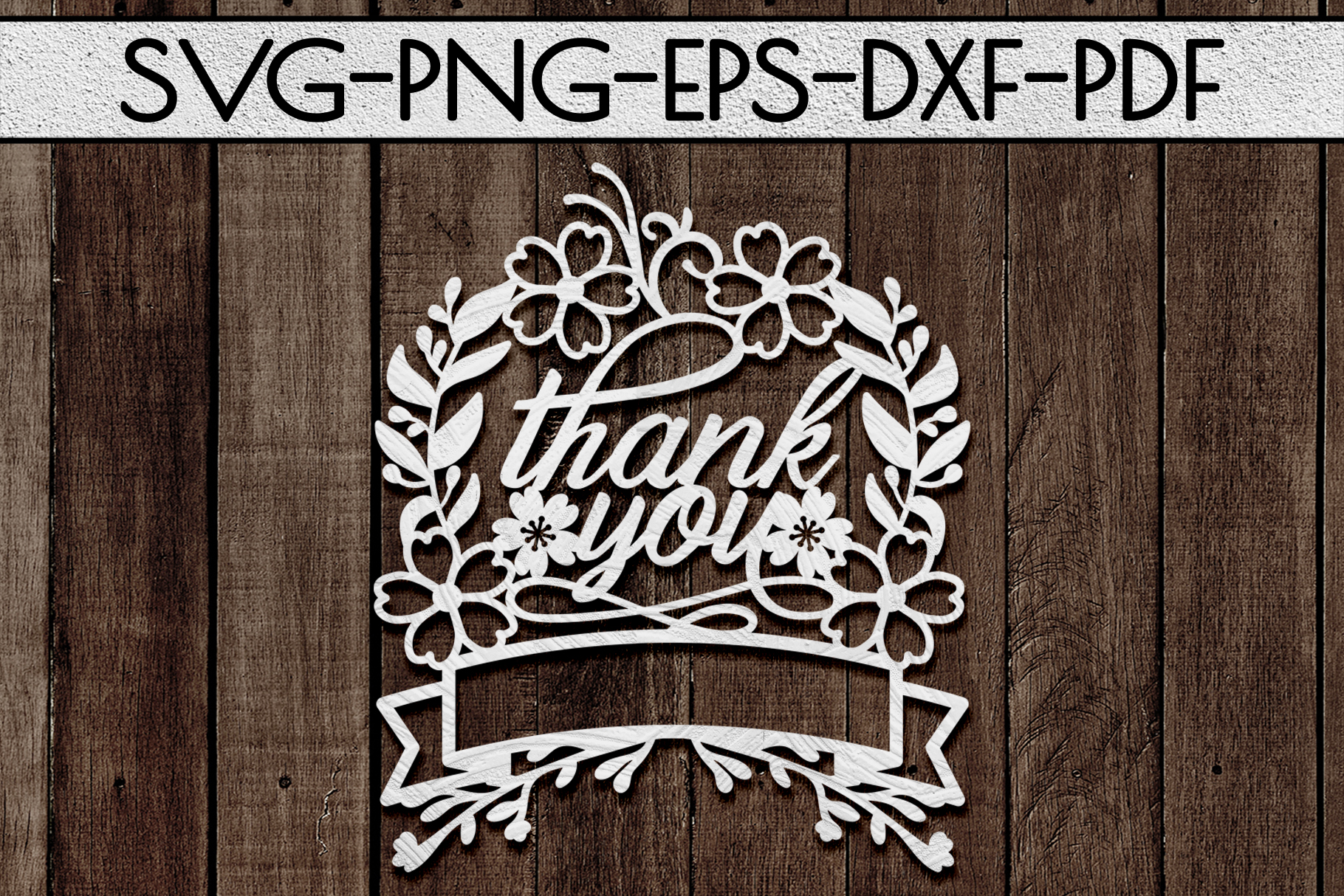 Thank You 8 Papercut Template, Customizable, SVG, PDF, DXF example image 1