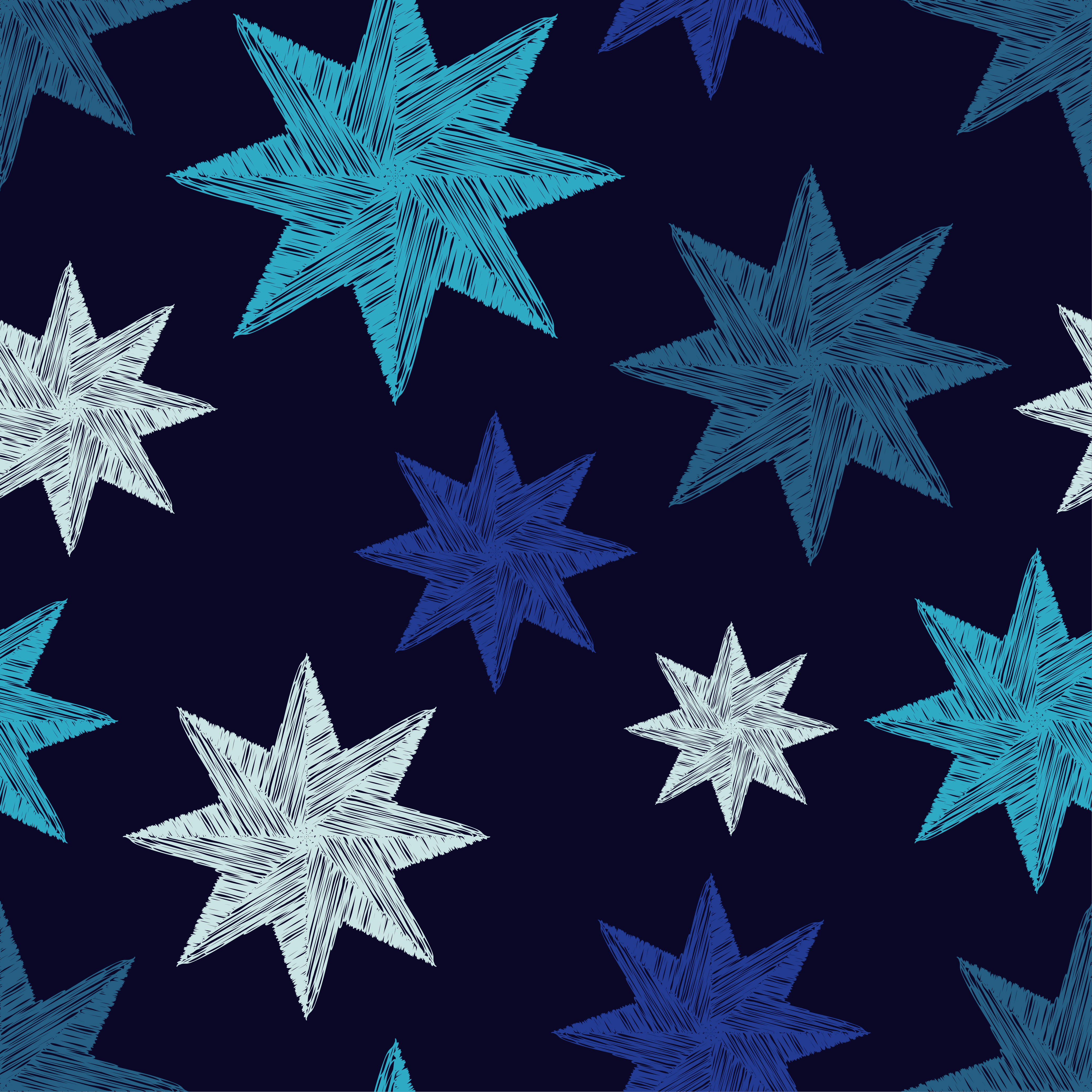 Seamless blue vector background with decorative stars.  example image 1