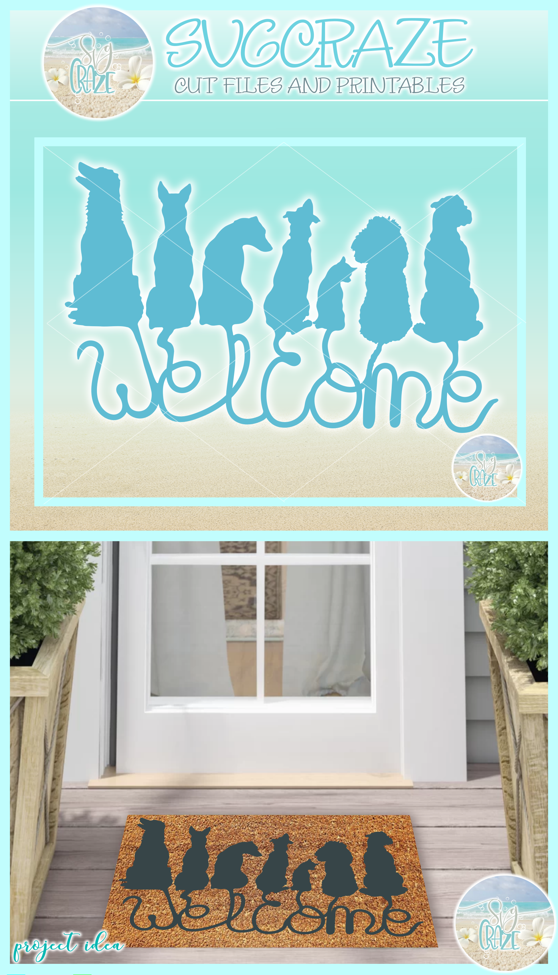 Dogs Welcome Coir Door Mat Design Svg Dxf Eps Png Pdf Files example image 4