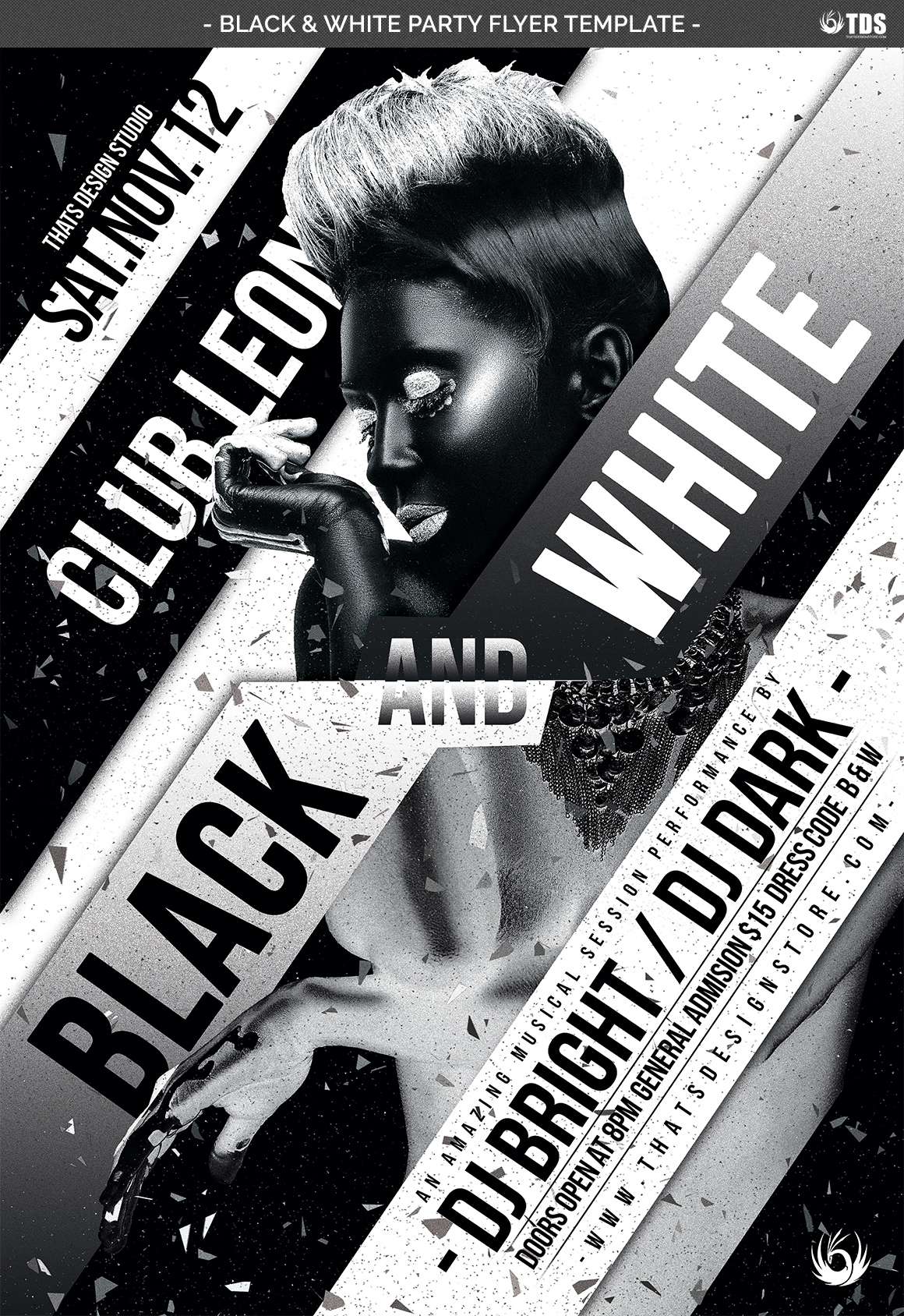 Black and White Party Flyer Template example image 4