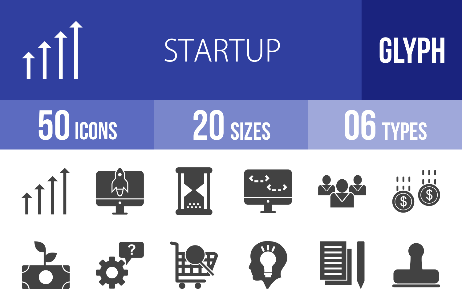 50 Startup Glyph Icons example image 1