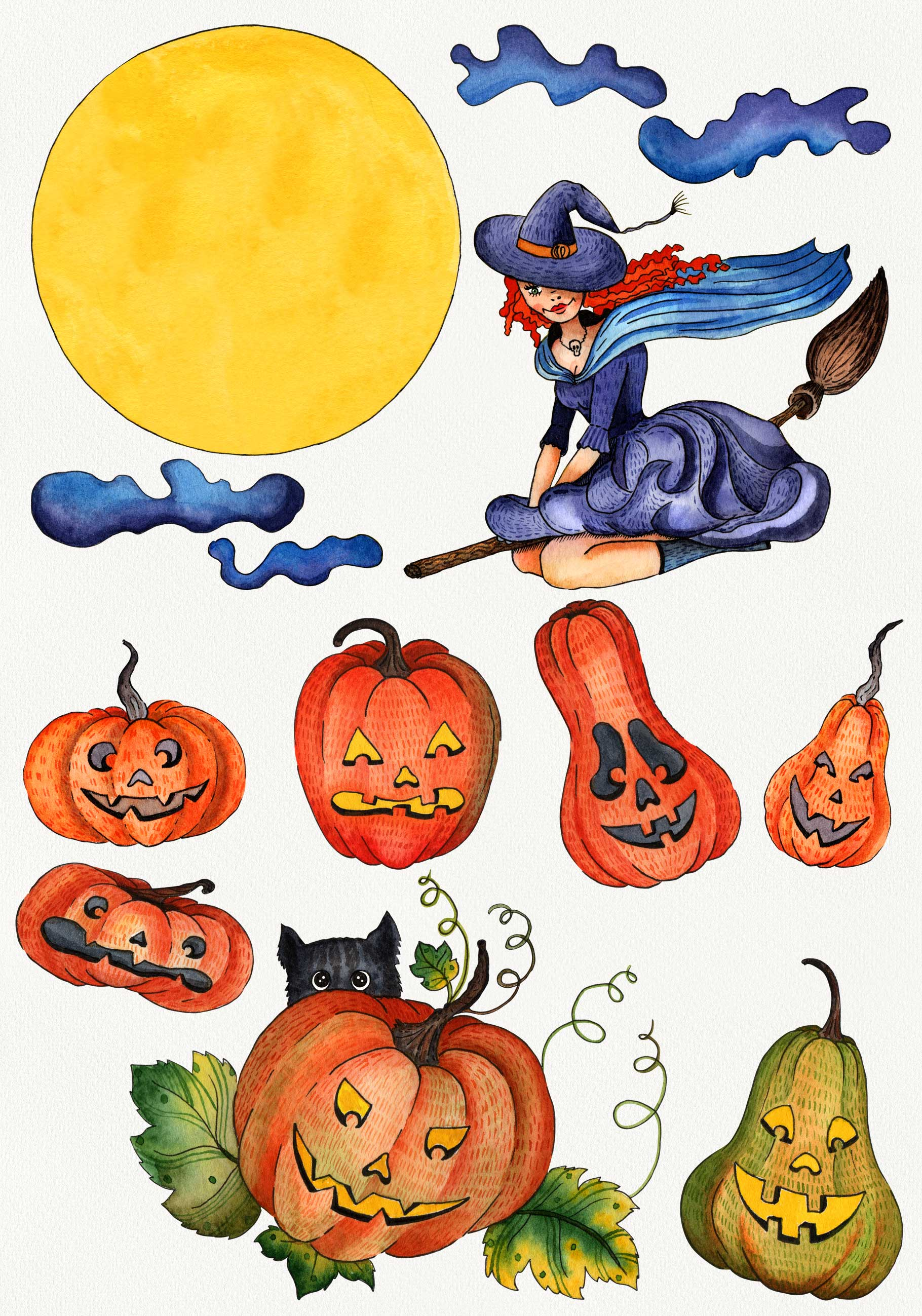 Watercolor set for Halloween example image 2