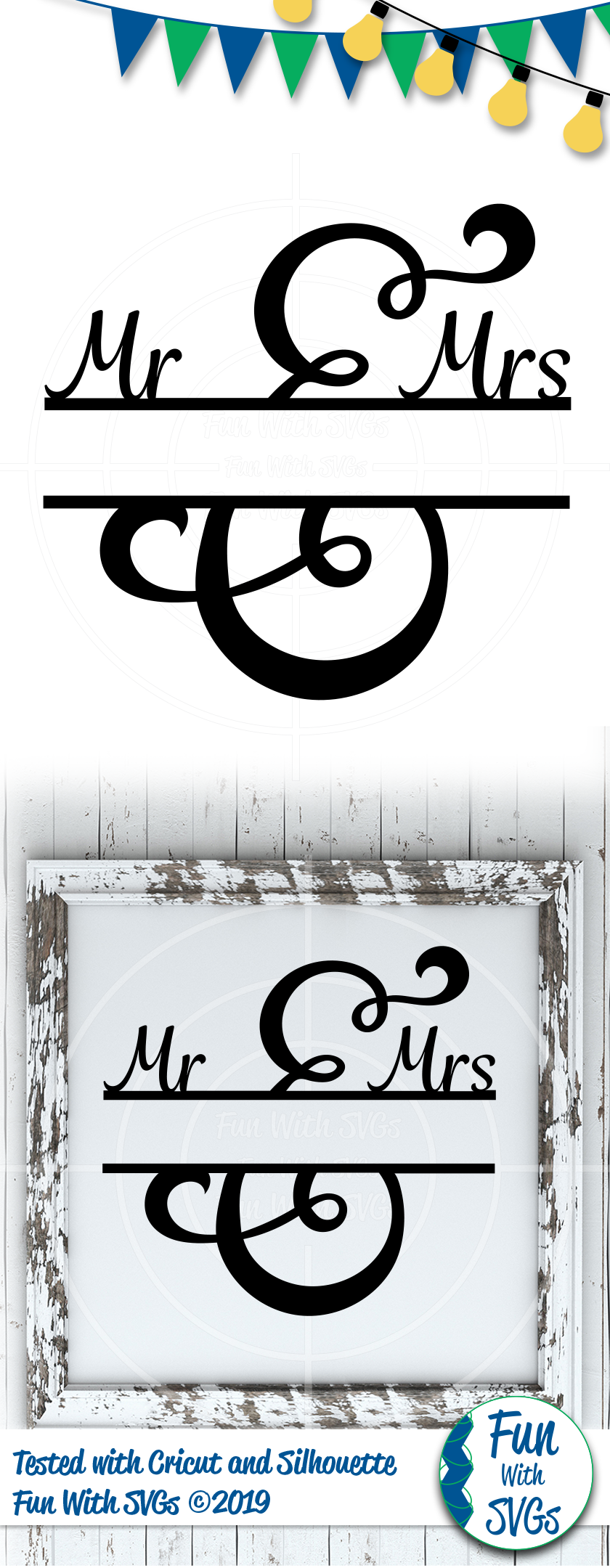 SVG Mr. and Mrs. Split Monogram, Cut File, Clip Art FWS502 example image 2