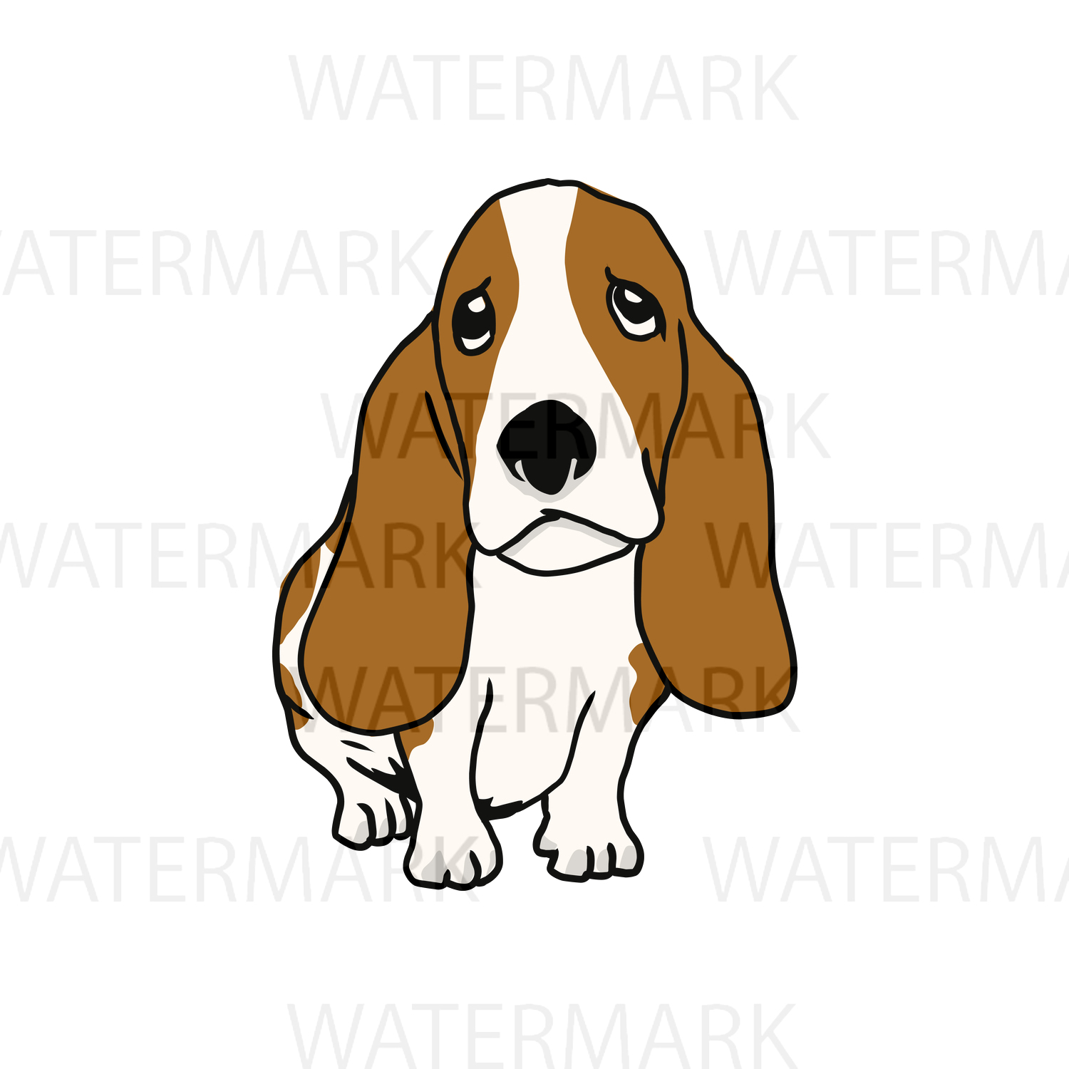 Cute Dogs C Basset Hound - SVG/JPG/PNG Hand Drawing example image 1