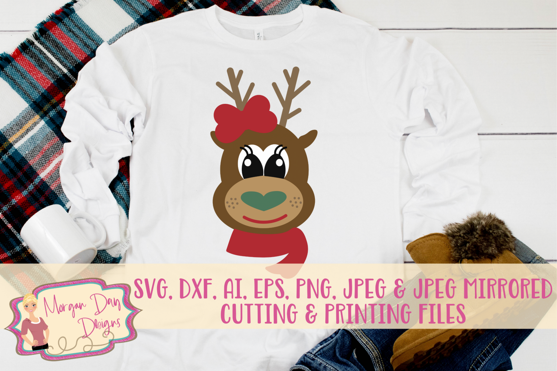 Reindeer Girl SVG, DXF, AI, EPS, PNG, JPEG example image 1