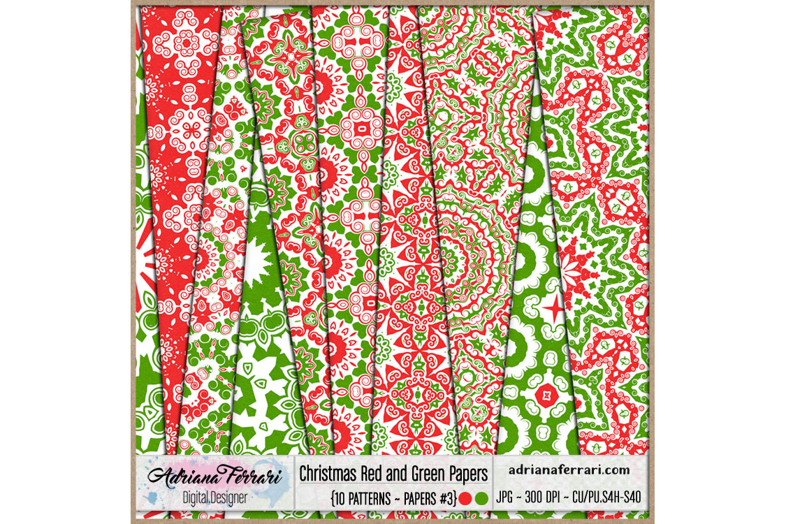 Christmas Red and Green Papers 3 example image 1