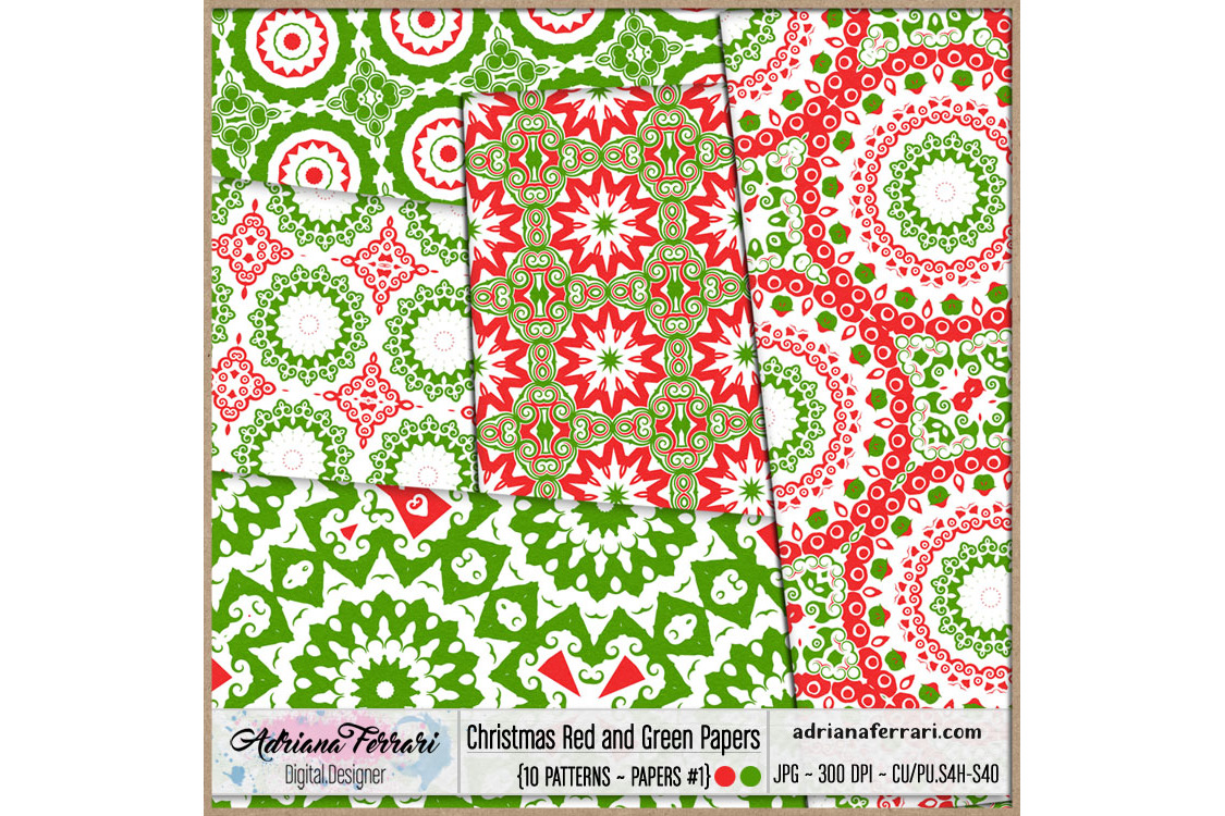 Christmas Red and Green Papers 1 example image 2