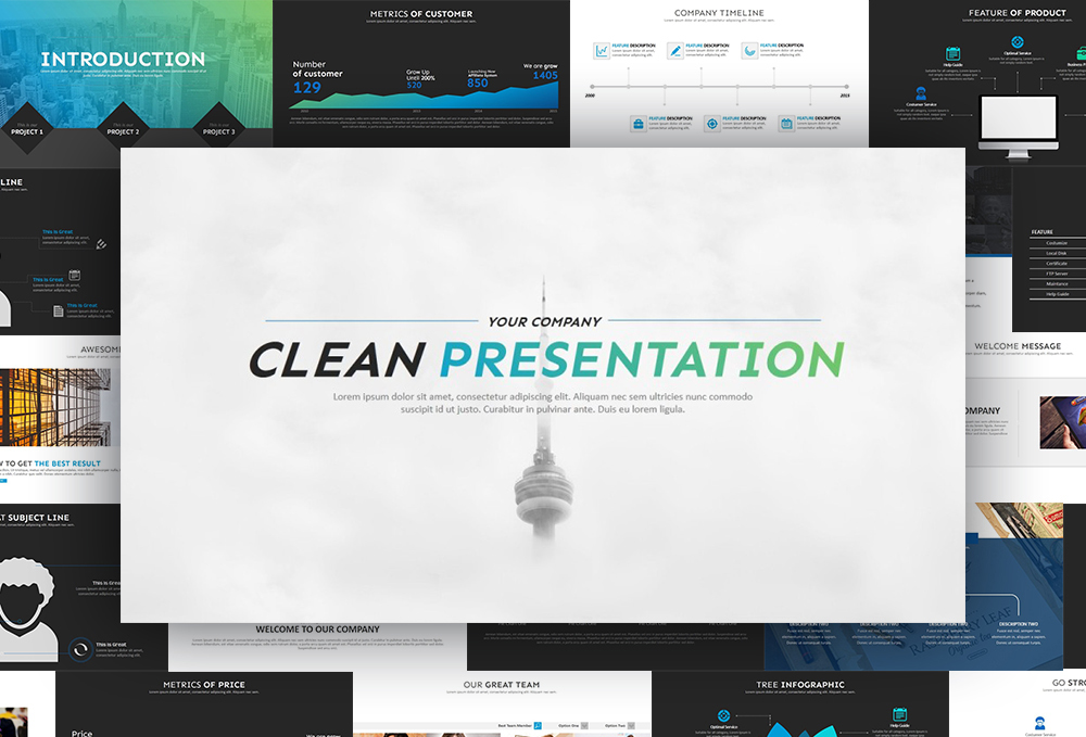 Clean PowerPoint Template example image 1