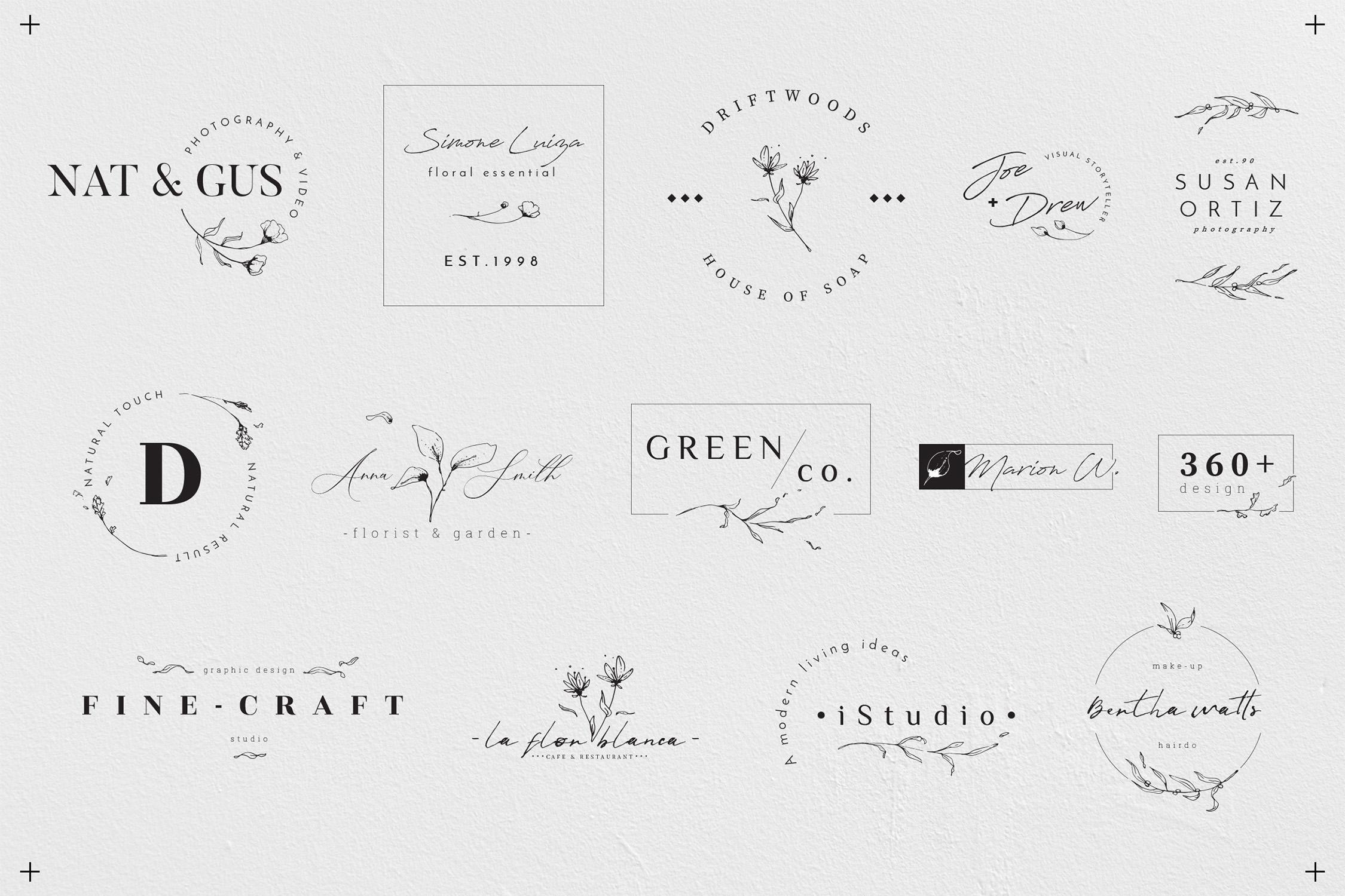 Floral Outline Illustration & Logo Pack example image 12