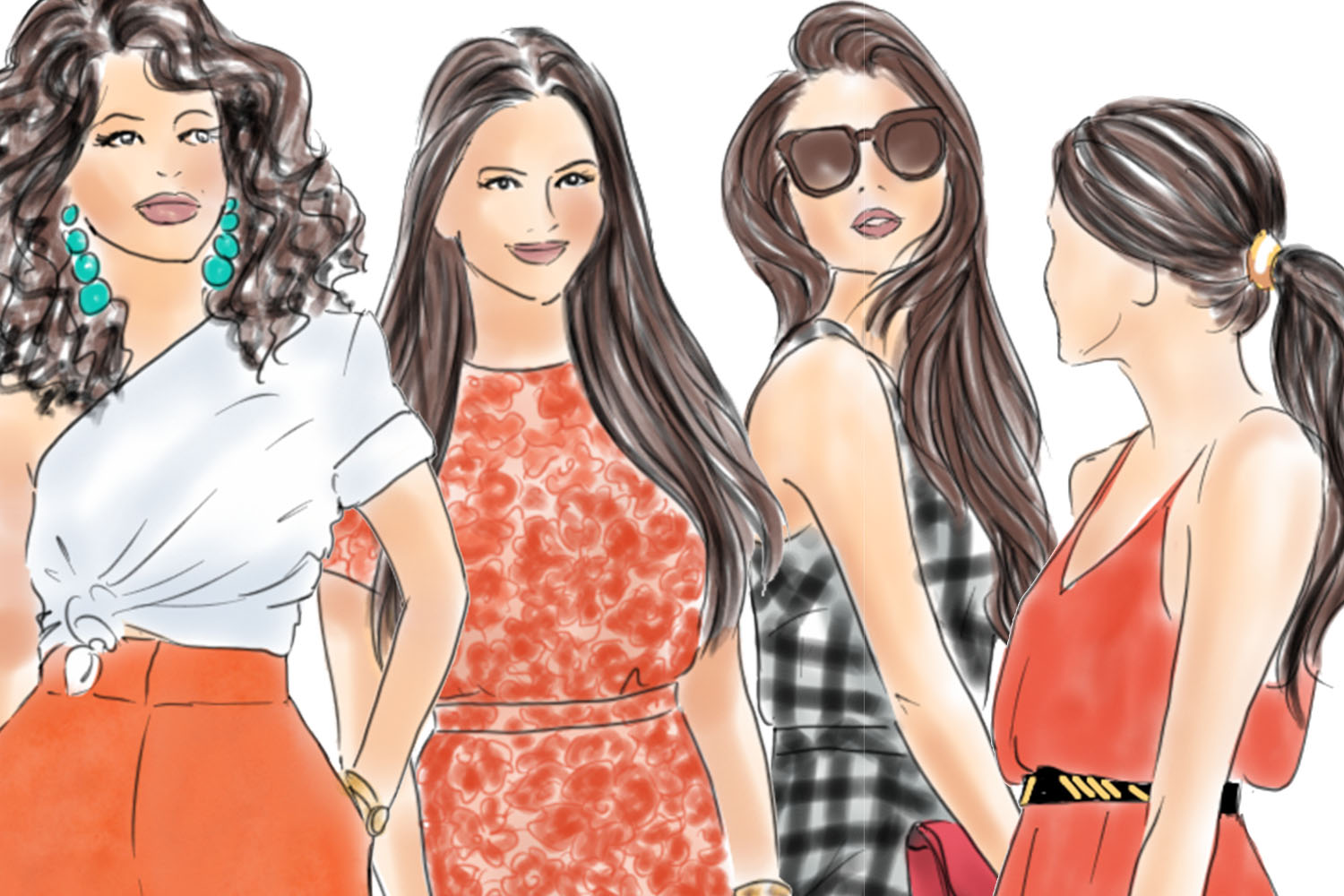 Watercolor fashion illusration clipart - Girls in Orange and Black example image 3