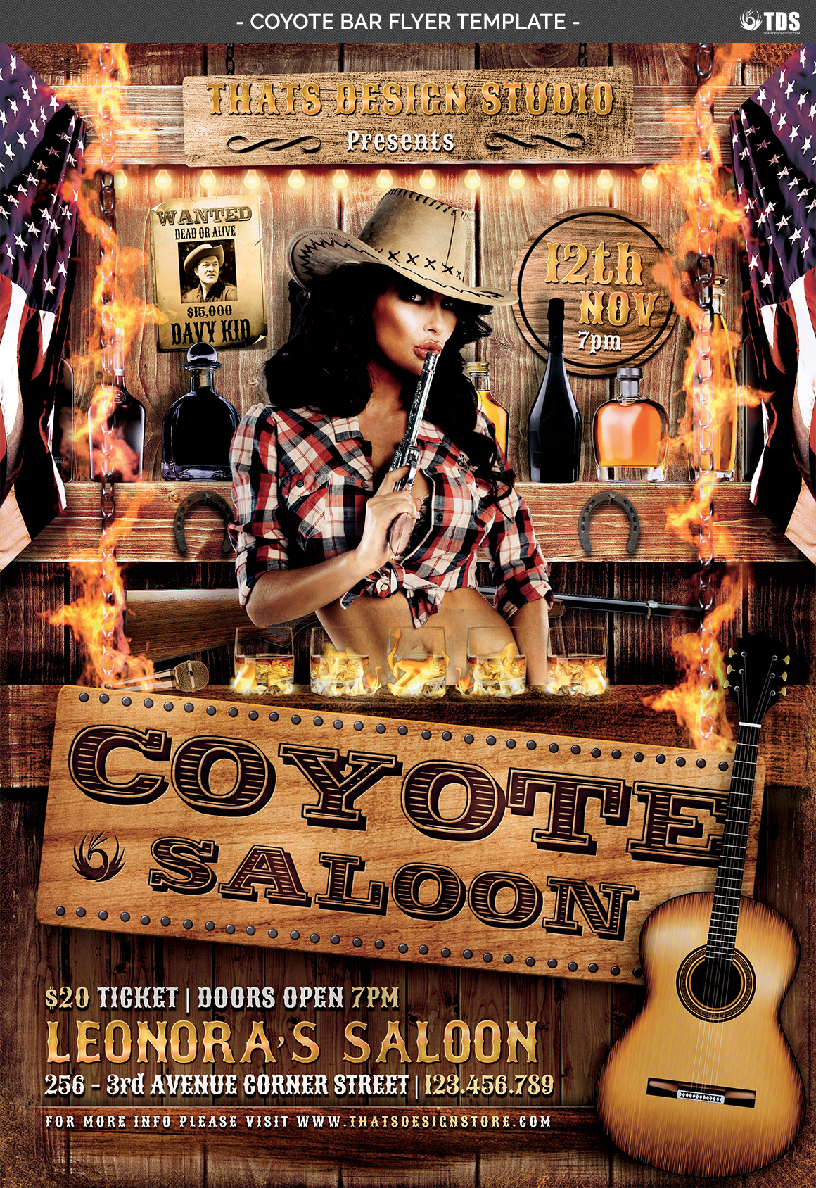 Coyote Bar Flyer Template example image 4