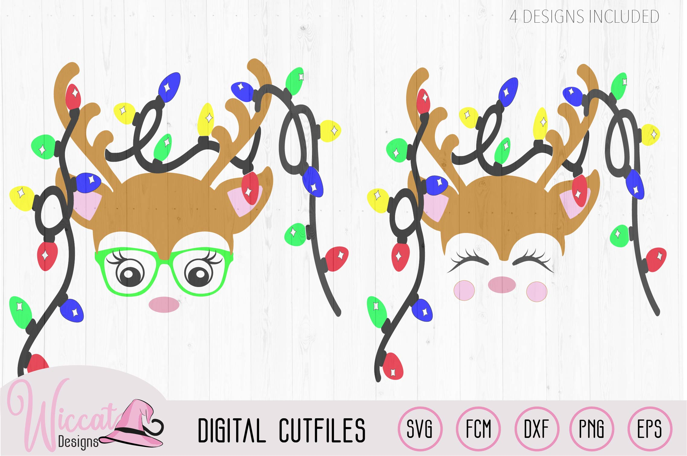 Hipster Reindeer with Christmas lights svg, Baby deer, kids example image 1