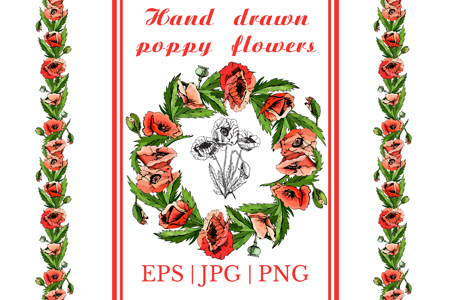 Bundle with sketches of poppy flowers. Modern and retro style.  example image 1