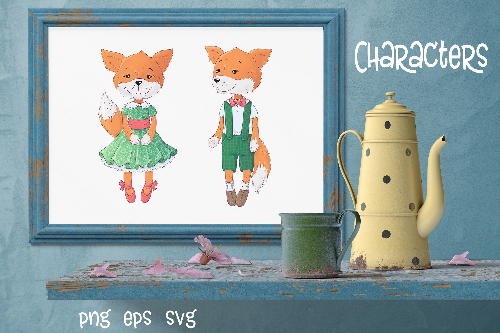 Cute Foxes and poppies - vector clip art example image 2