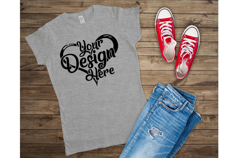 Gildan Ladies T-Shirt Mockup Mega Bundle Flat Lay 64000L example image 24
