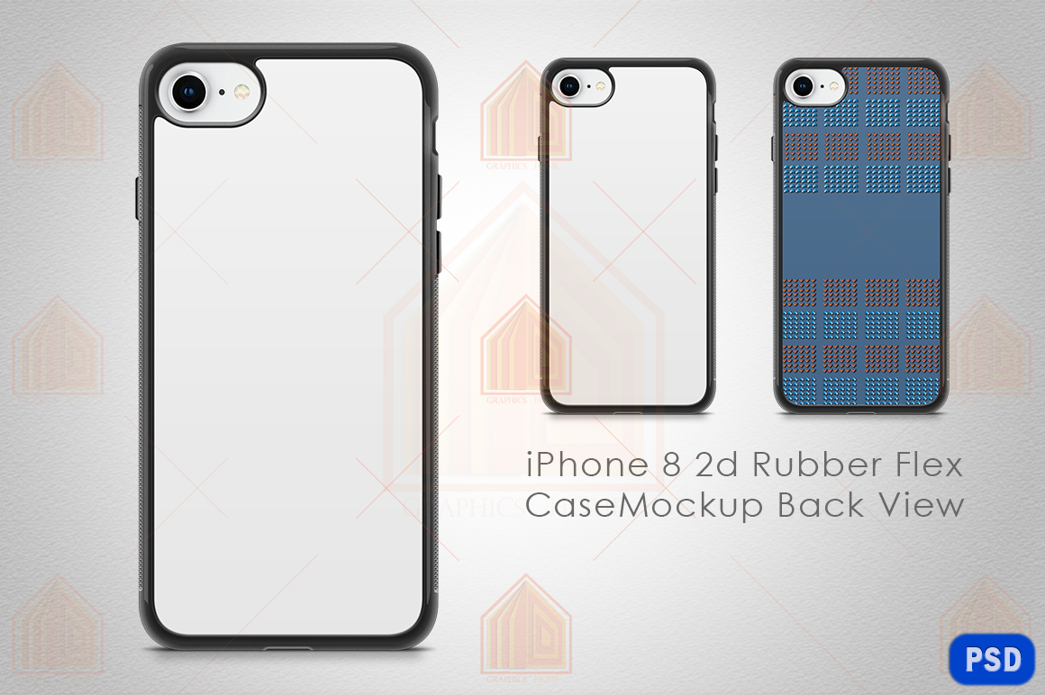 iPhone 8 2d Rubber Flex Case Design Mockup Back example image 1