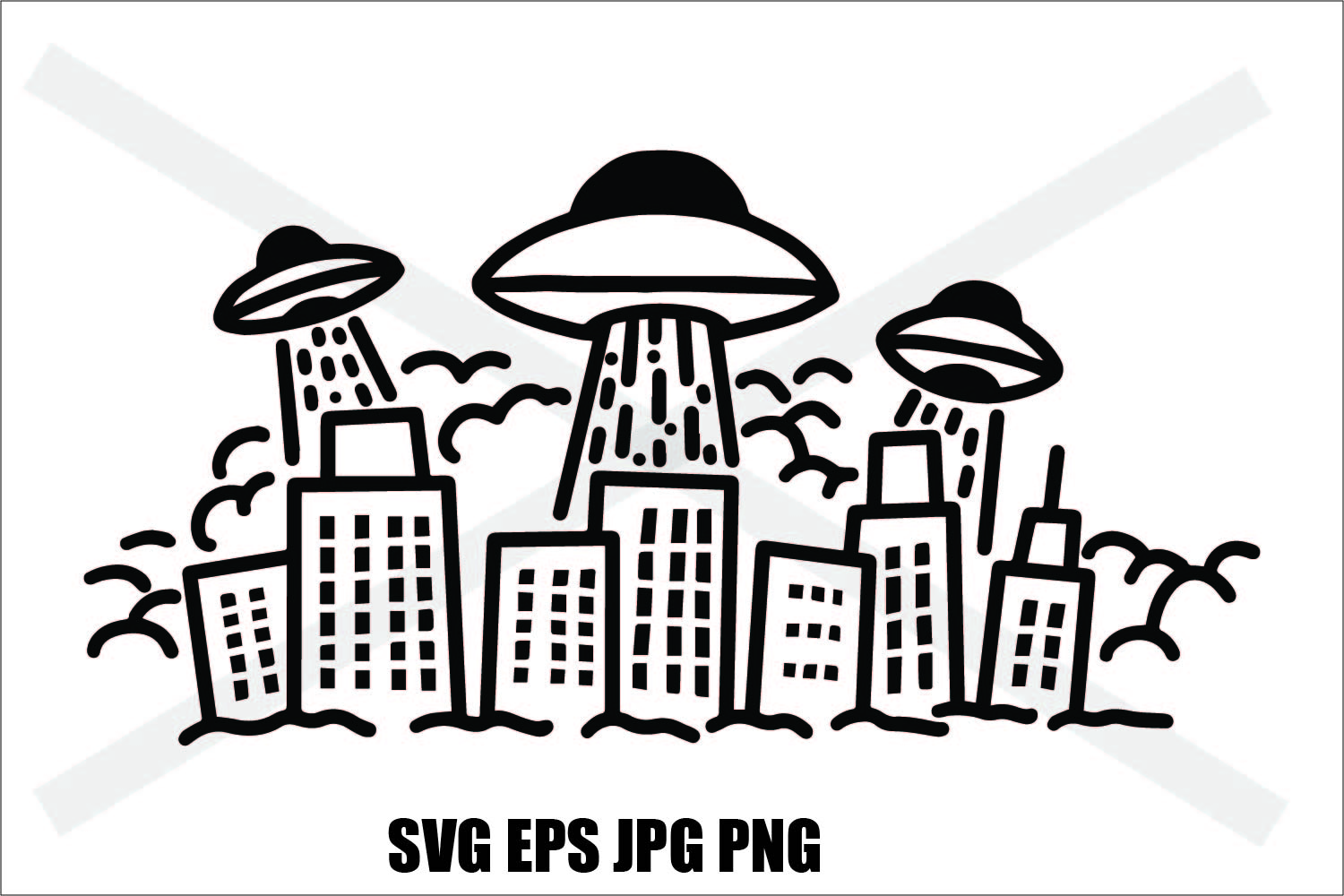 UFO Invasion - SVG EPS JPG PNG example image 2