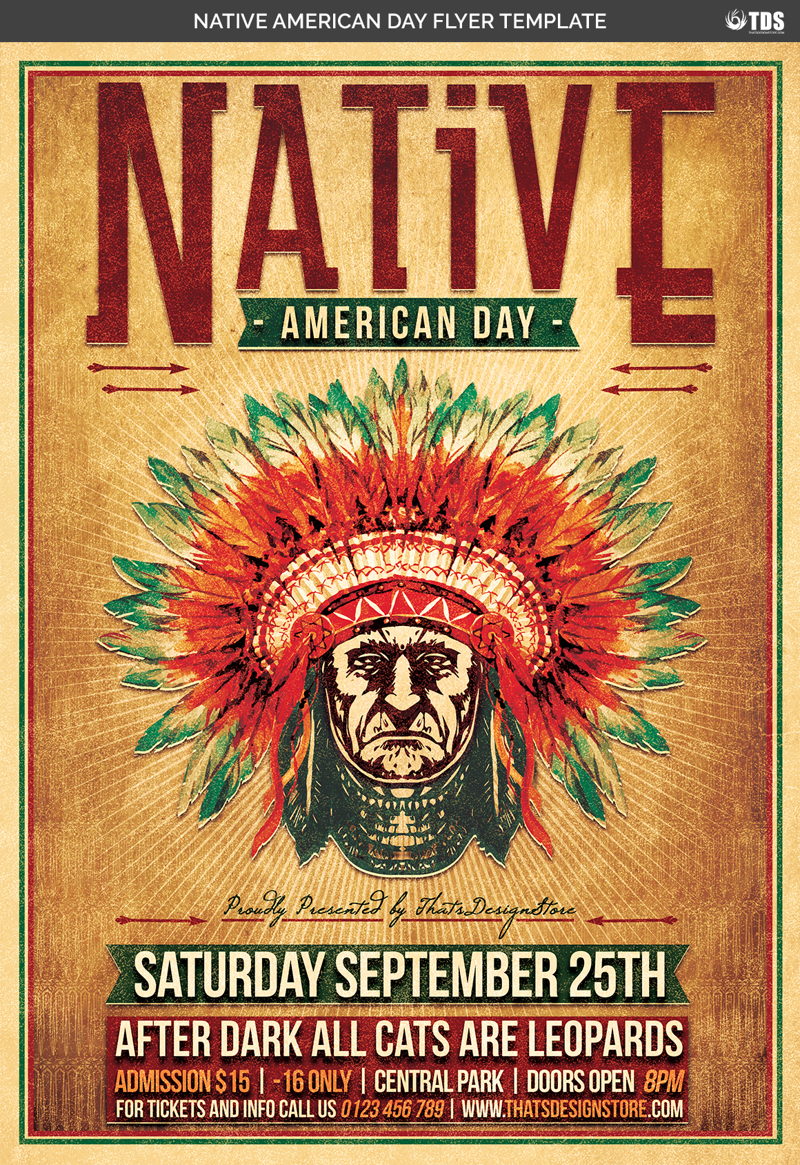 Native American Day Flyer Template example image 4