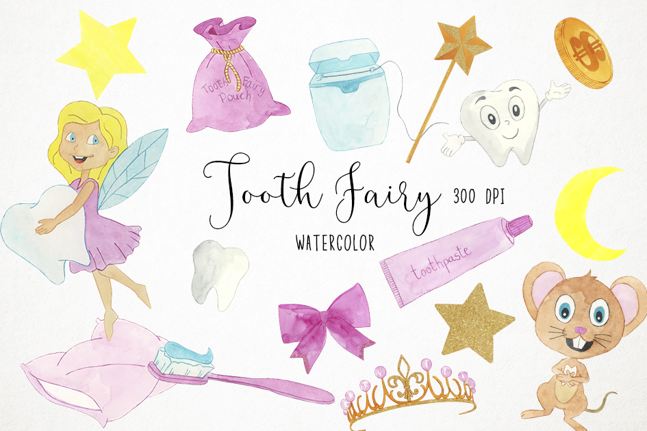 Tooth Fairy Clipart, Teeth Clipart, Tooth Fairy Clip Art example image 1