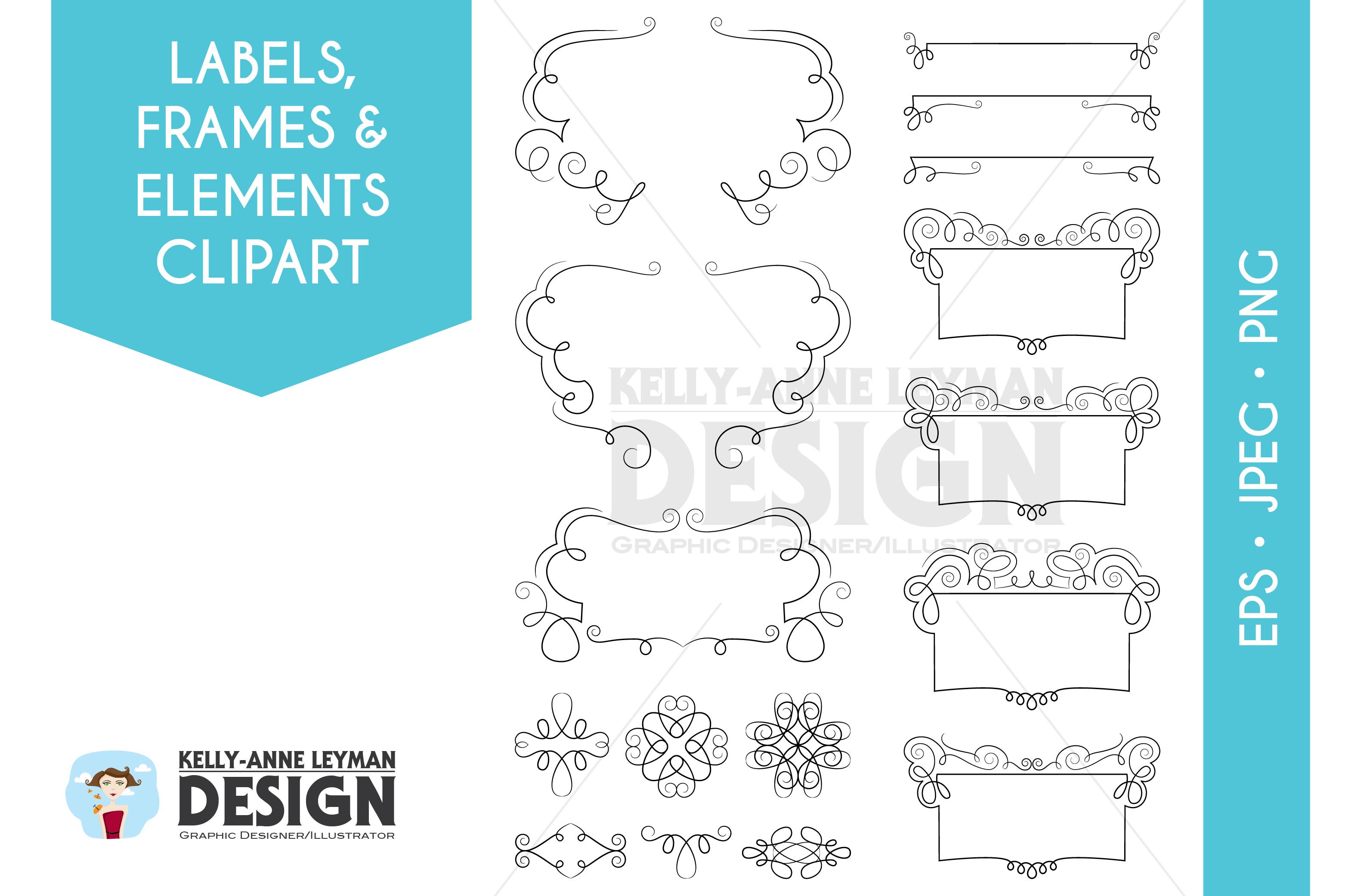 Swirl Digital Frames Clipart, Digital Labels clipart set example image 2