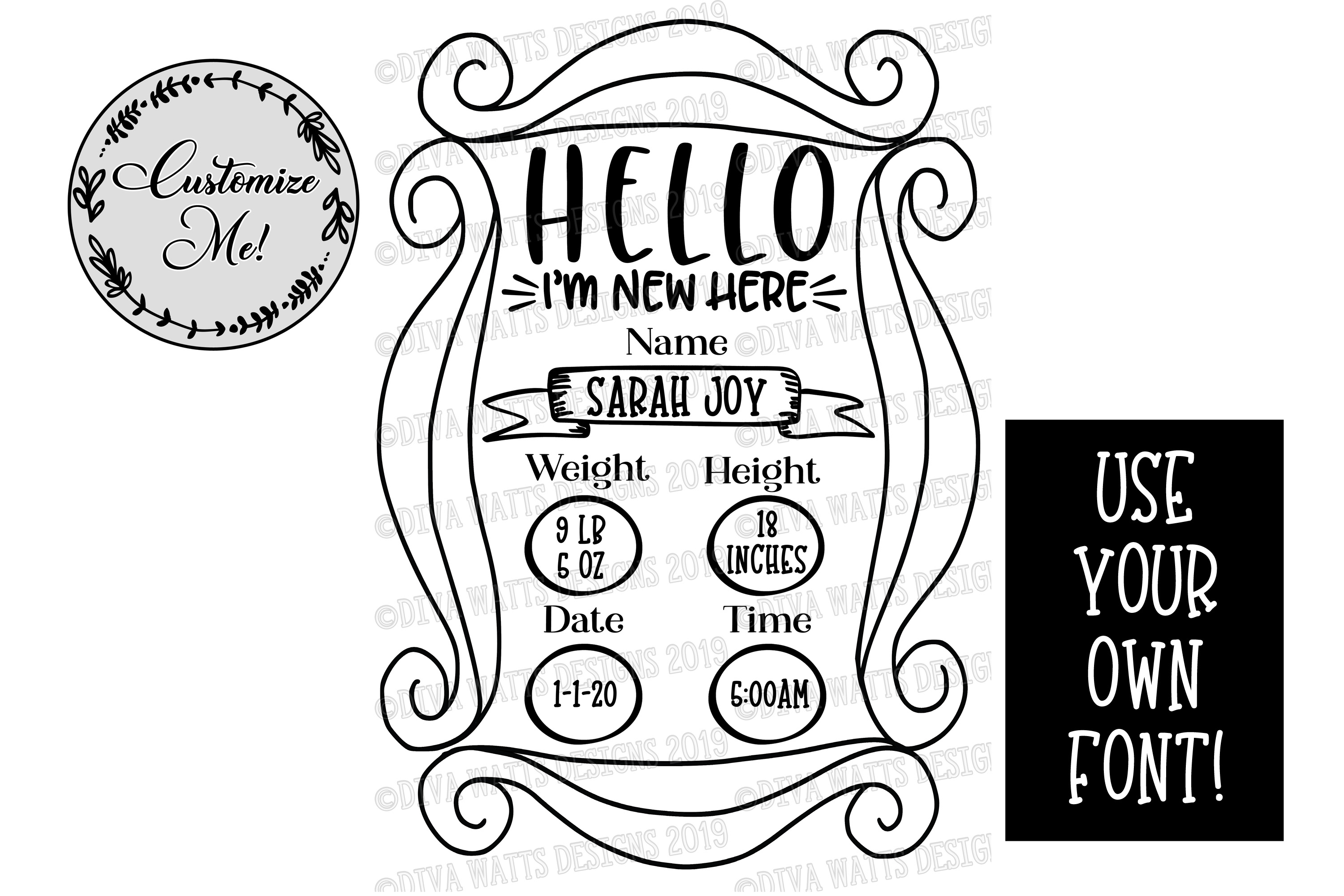 Birth Announcement   Nursery   Cutting File - You Customize example image 2