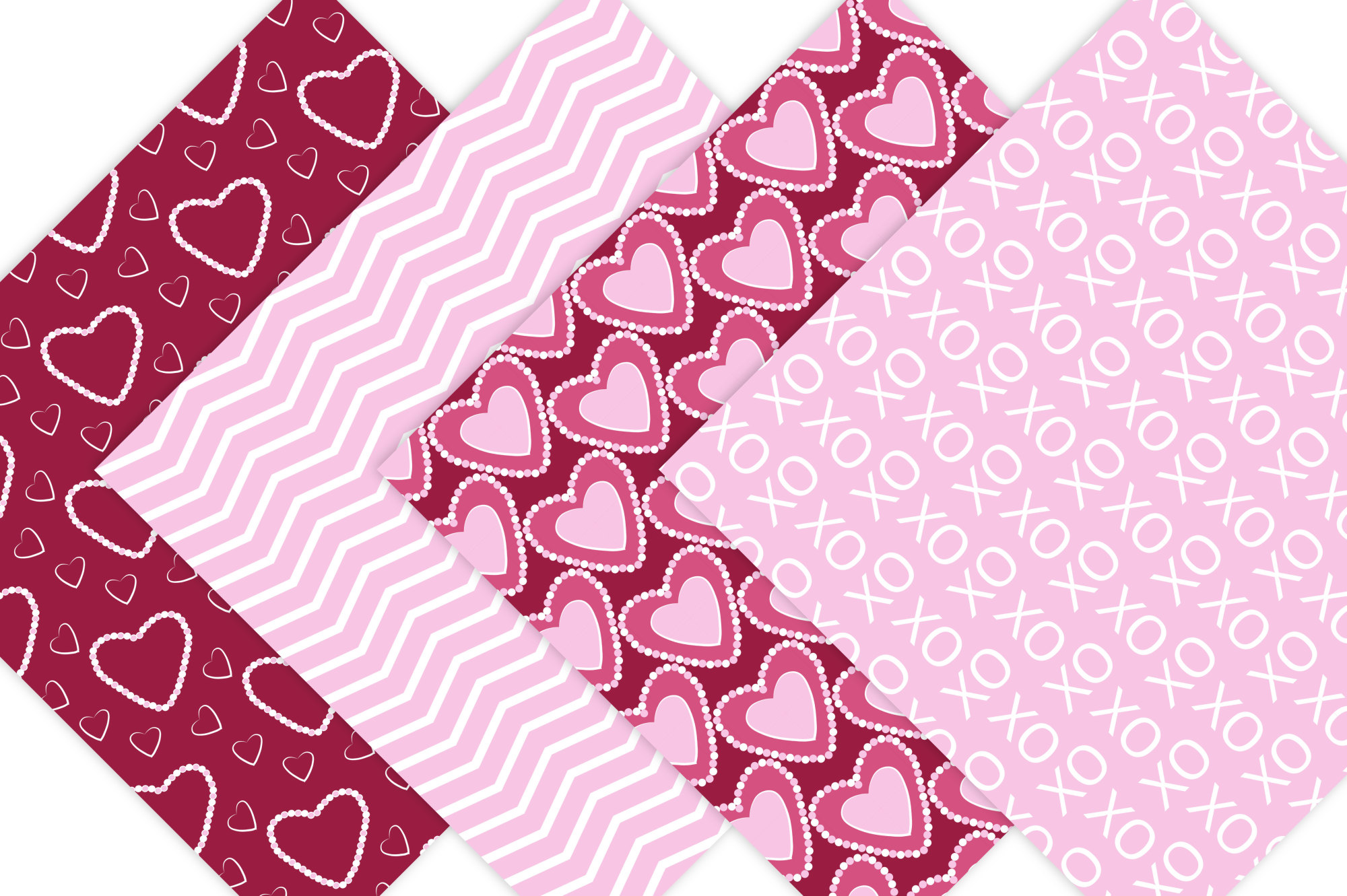 Hearts Digital Paper - Pink and Red Valentine Background Patterns example image 5