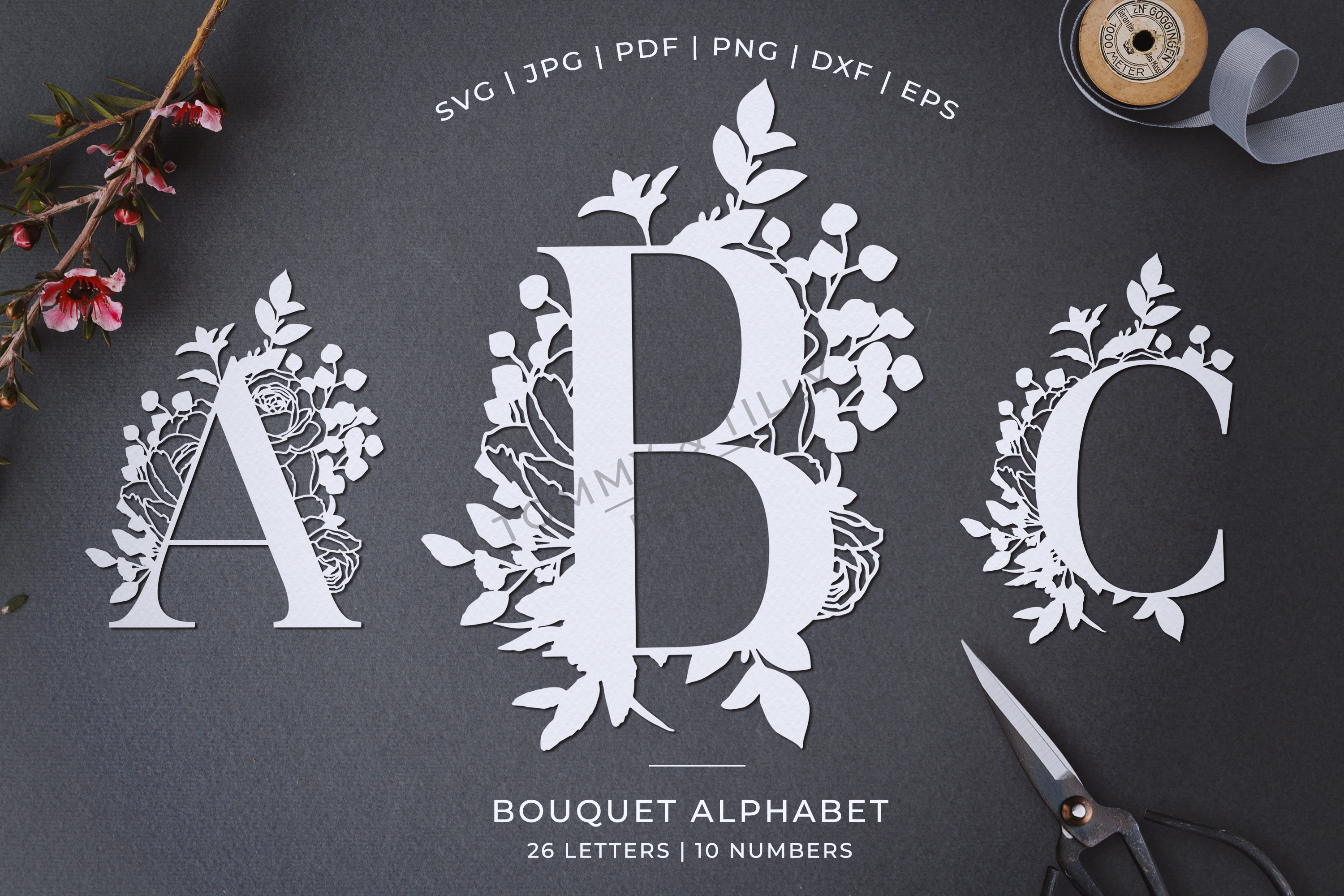 Bouquet Alphabet - Papercutting SVG DXF PNG EPS JPG PDF example image 1