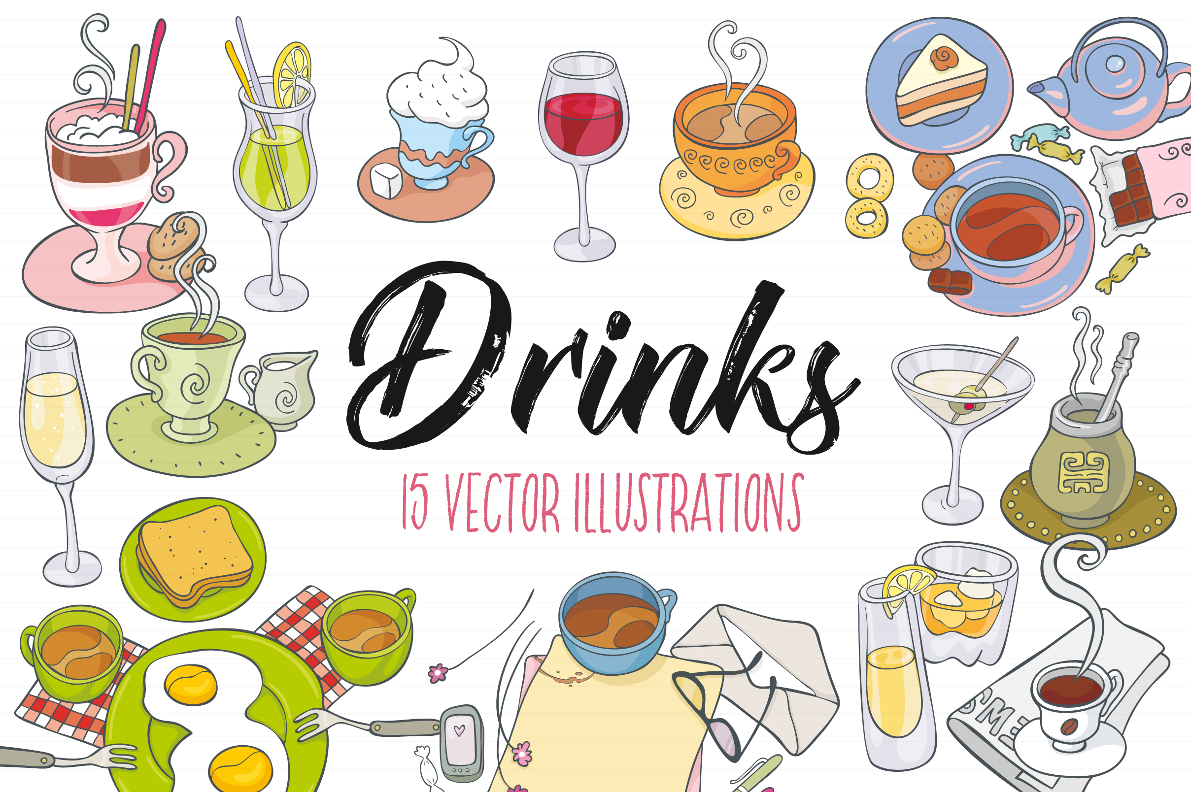 Drinks, vector illustrations example image 1