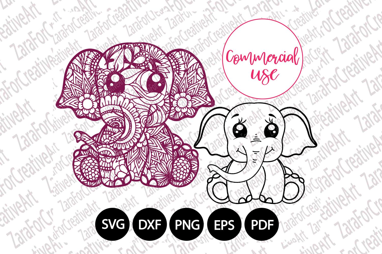 cute elephant mandala svg example image 1