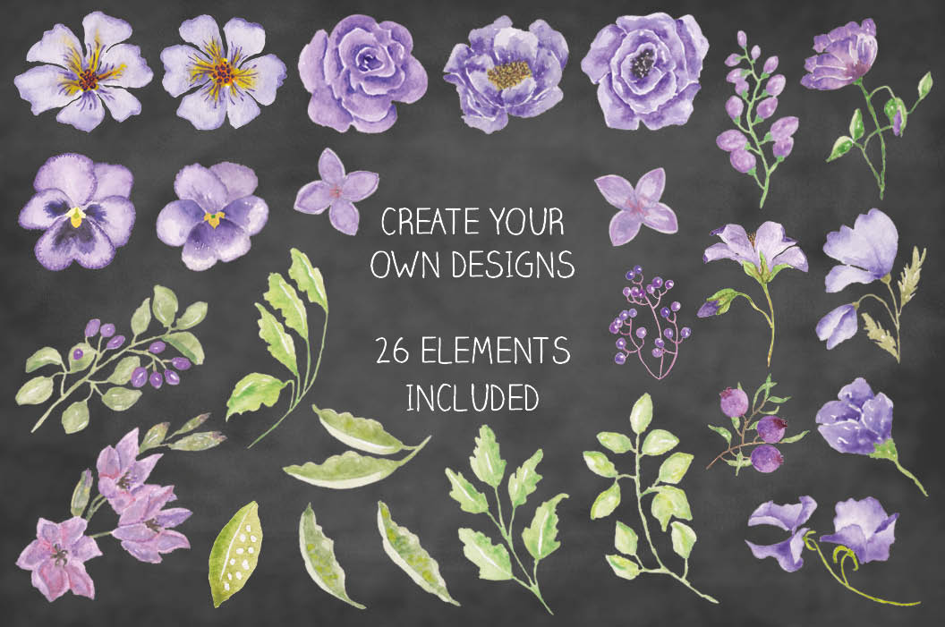 'Purple Passion II': watercolor border plus individual elements example image 2