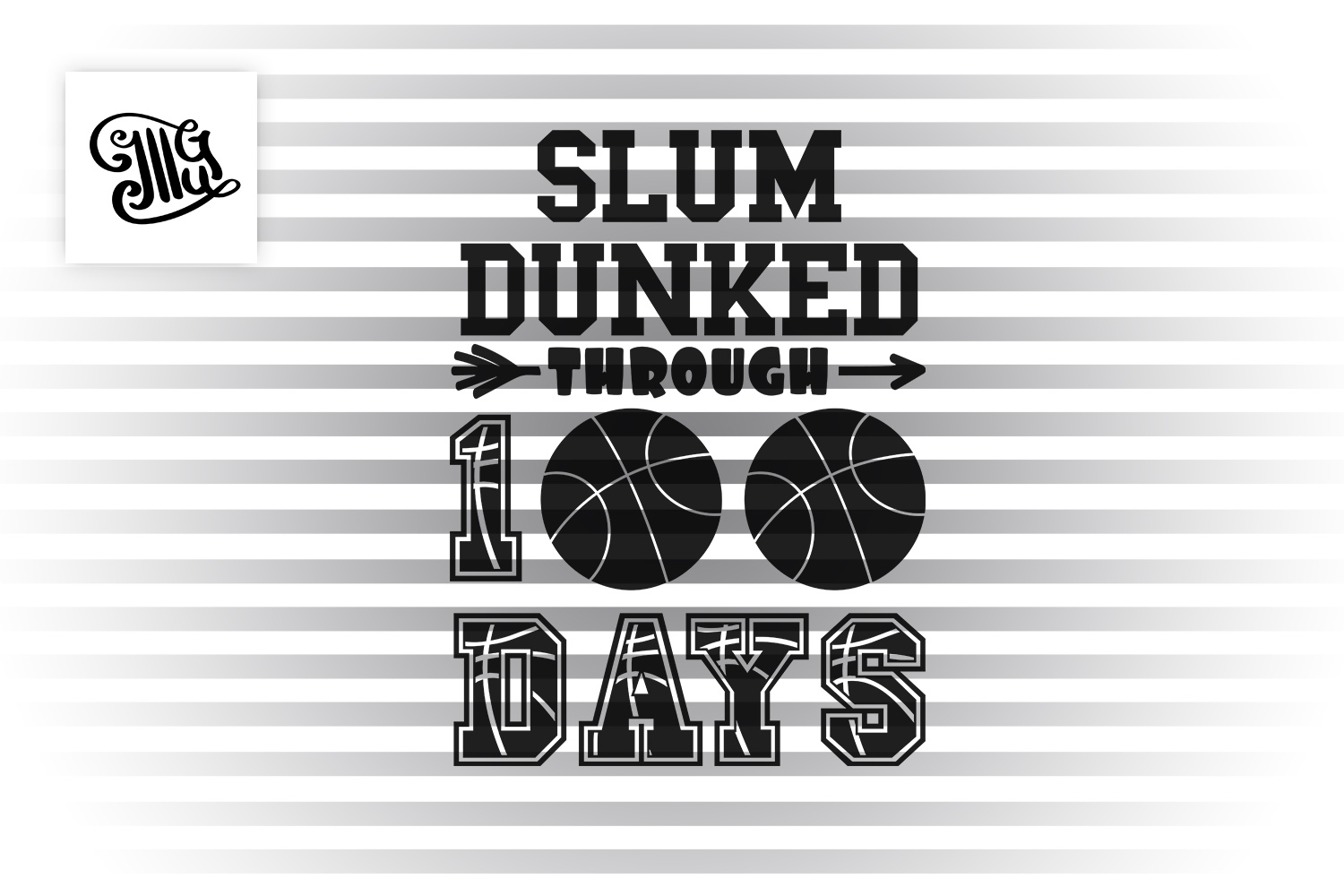 100 days of school basketball svg example image 2