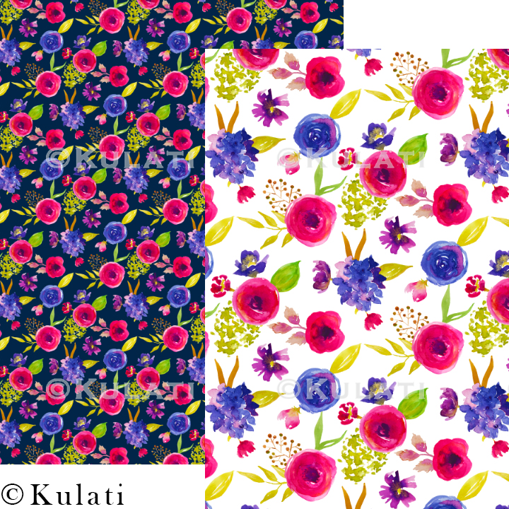 Bohemian Summer Watercolor Floral Patterns example image 7
