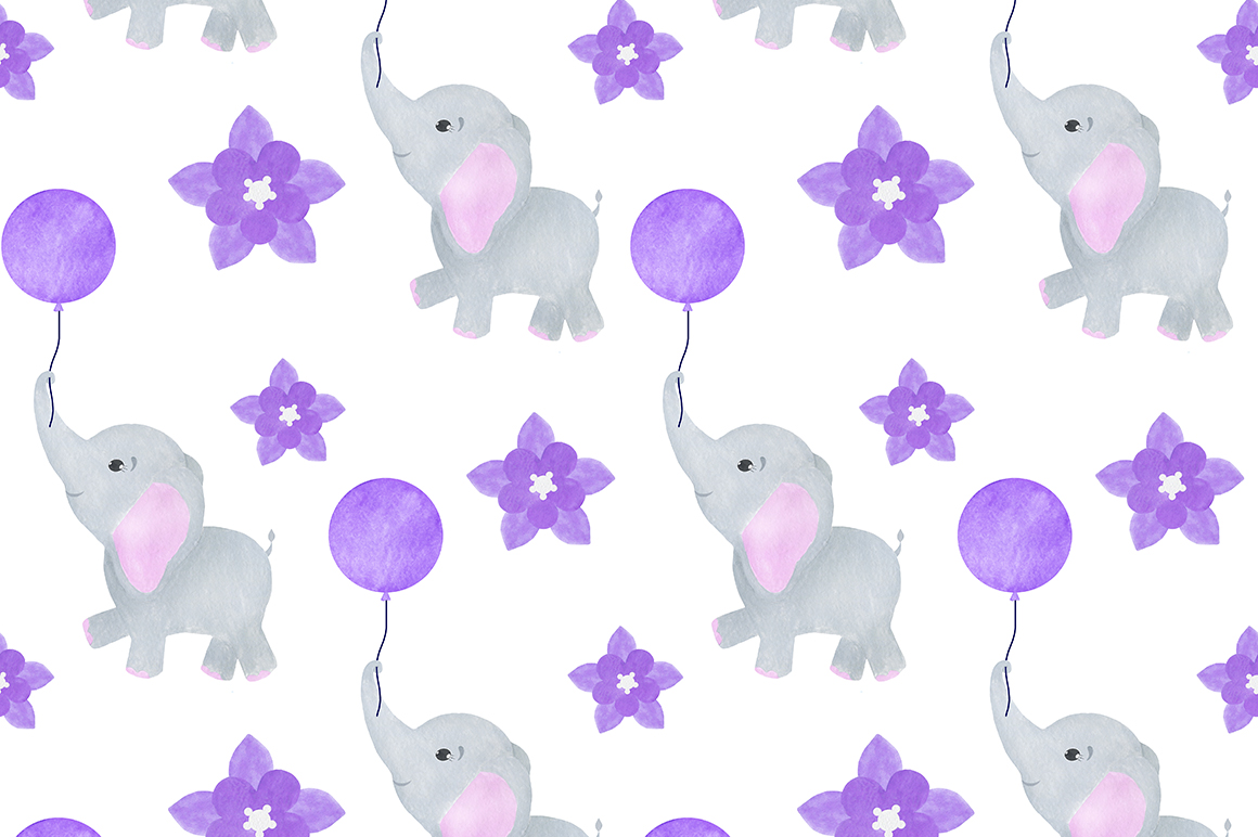 Set of illustrations of a cute little watercolor elephant example image 10