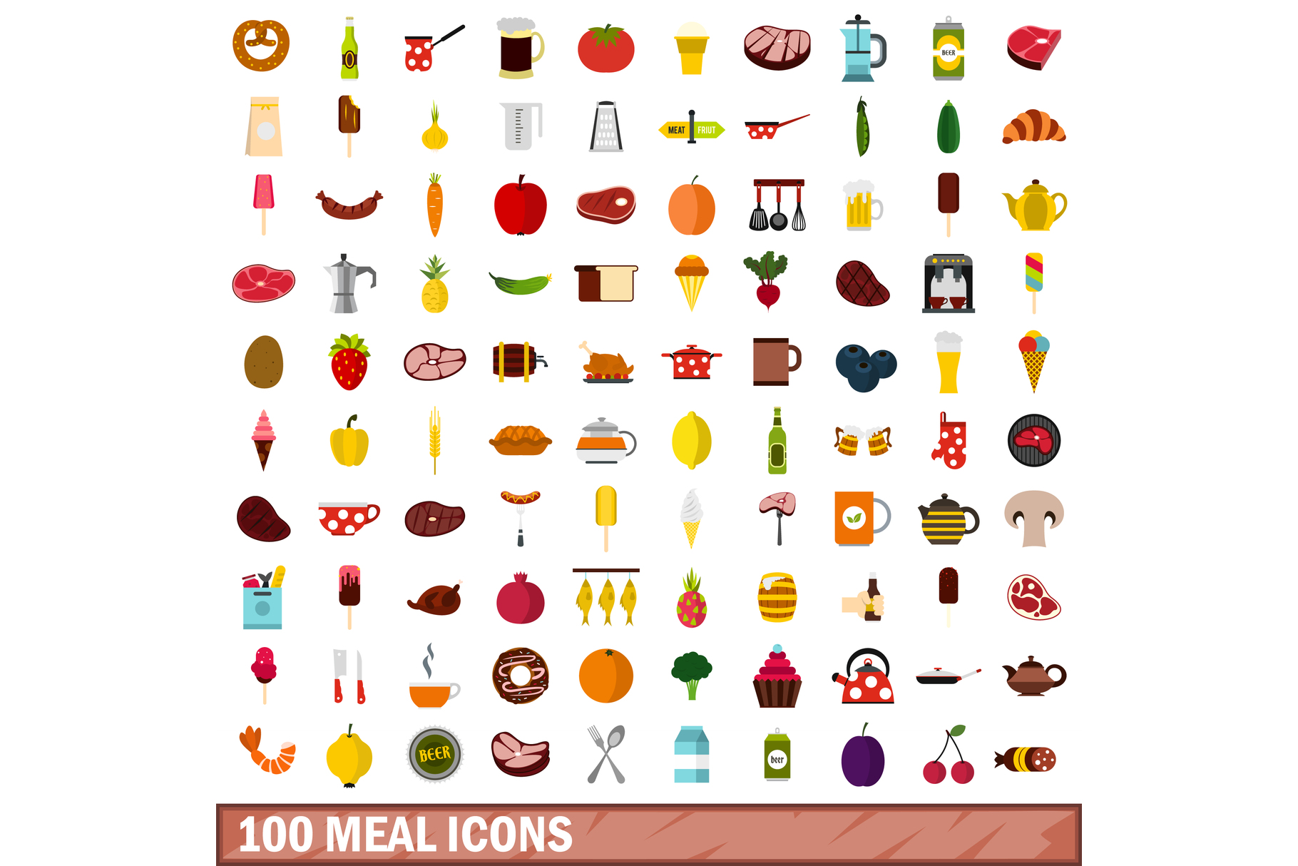 100 meal icons set, flat style example image 1